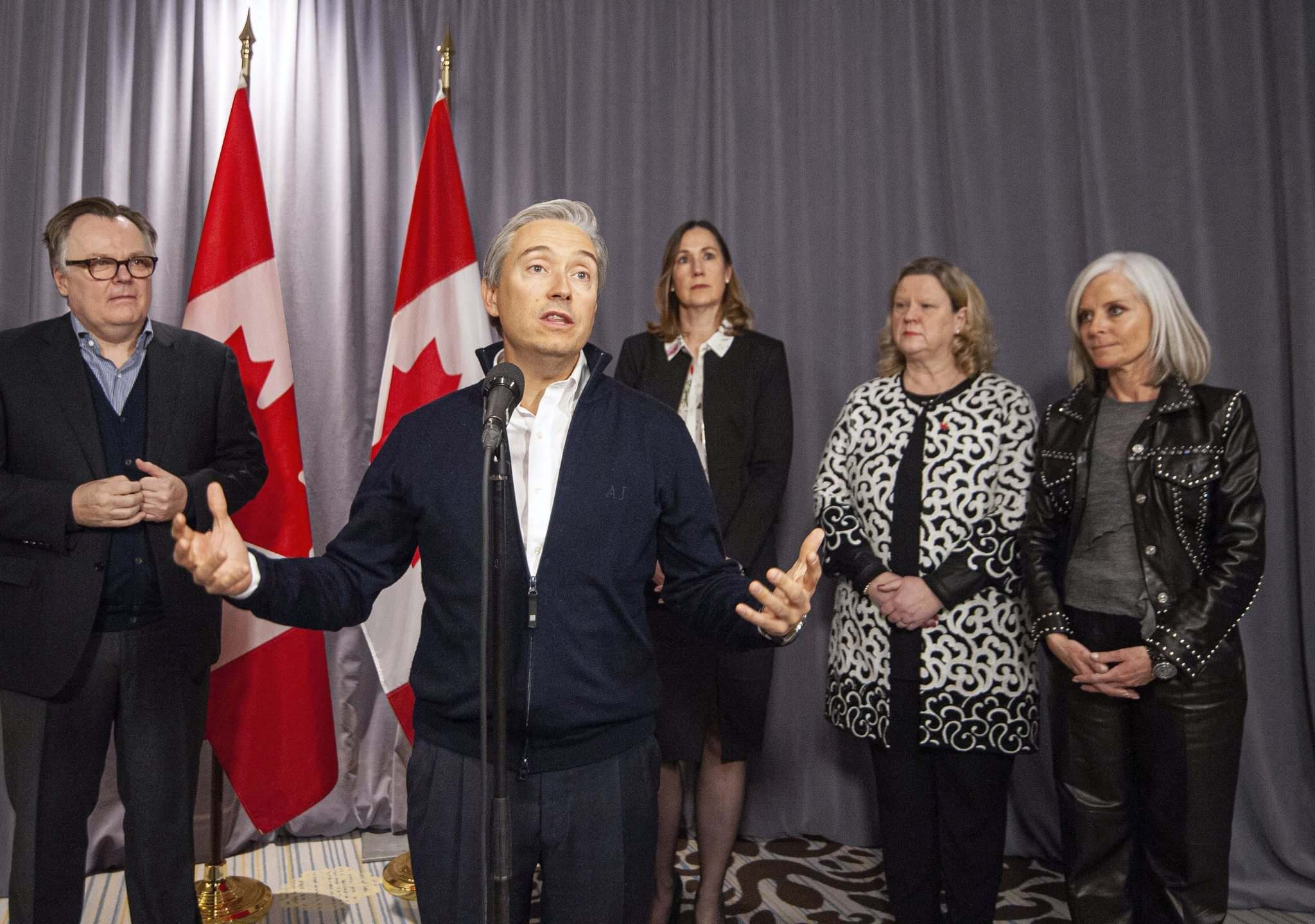 Mike Sudoma / The Canadian Press</p><p>Minister of Foreign Affairs Francois-Philippe Champagne speaks to media alongside (from left) Permanent Representative of Canada to the United Nations Marc-Andre Blanchard, acting Canadian Ambassador to the U.S. Kirsten Hillman, Canadian High Commissioner to the U.K. Janice Charette, and Canadian Ambassador to France Isabelle Hudon during the Liberal cabinet retreat in Winnipeg on Sunday.</p></p>
