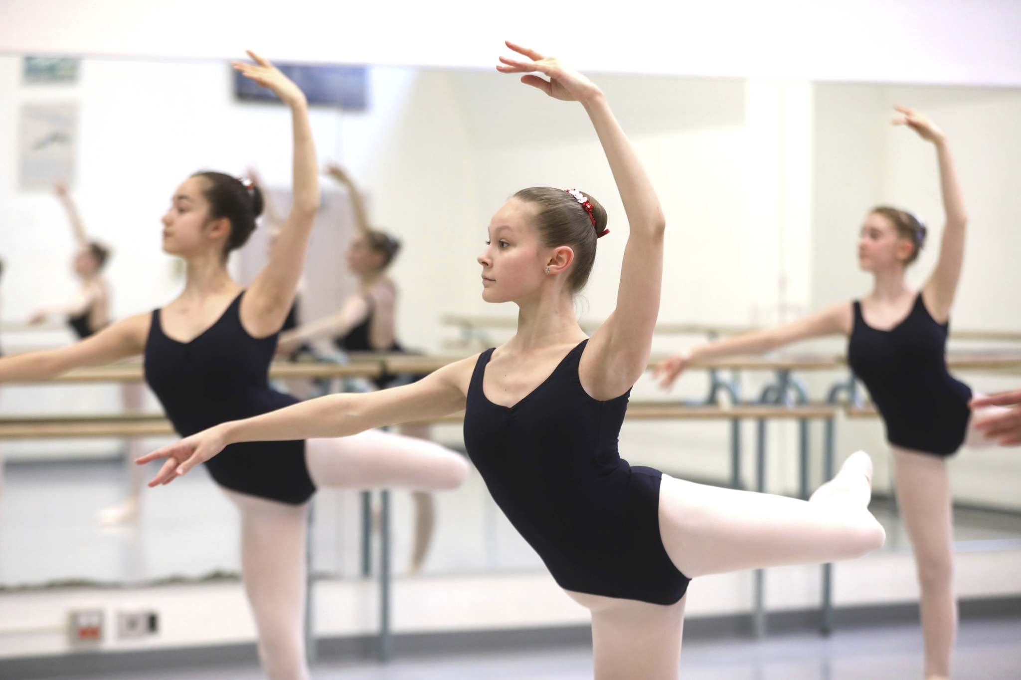 Students usually clock about five or six hours of dance a day if they have evening rehearsals for upcoming shows, six days per week.