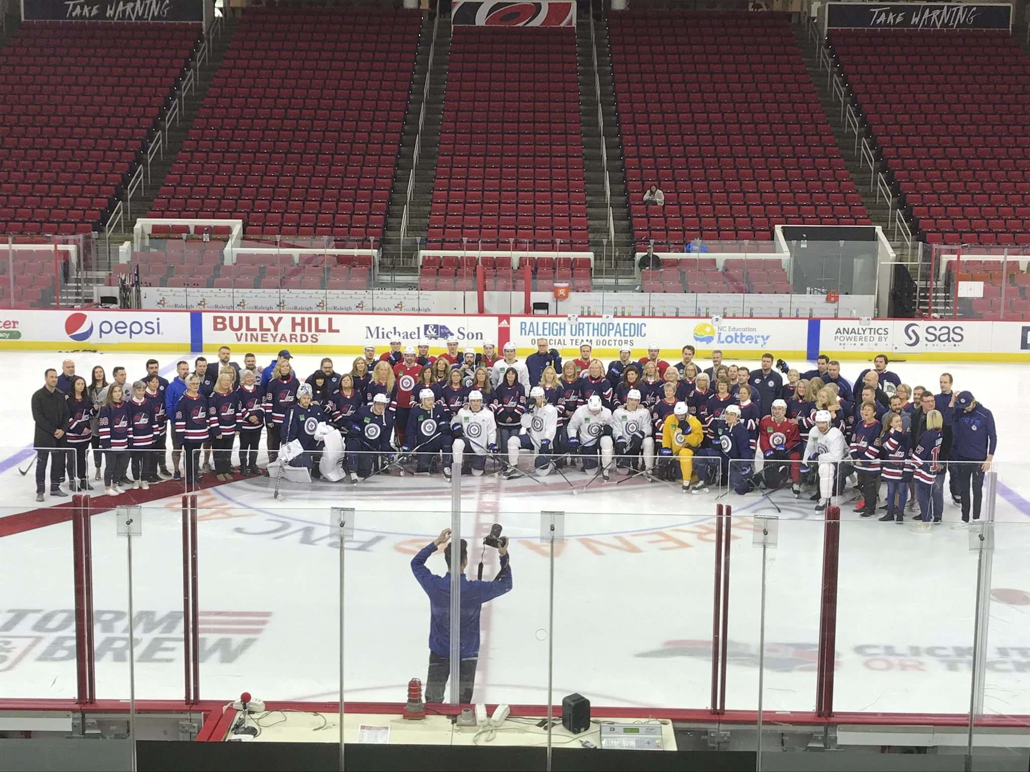 All the moms were brought out for a group photo before practice got underway Monday in Raleigh. (Mike McIntyre / Winnipeg Free Press)