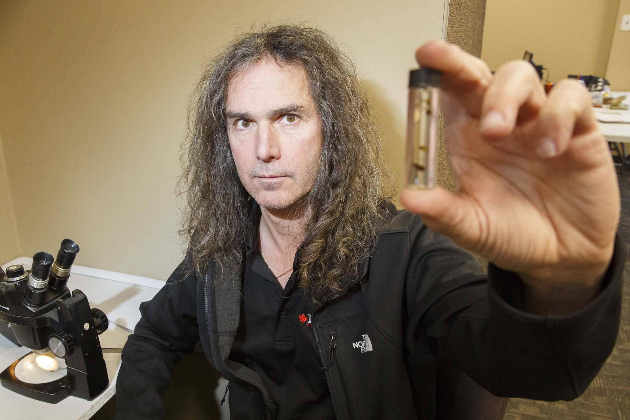 Taz Stuart, entomologist and Director of Technical Operations at Poulin's Pest Control, keeps a vial of bed bugs on him and knows everything about bed bugs. (Mike Deal / Winnipeg Free Press)