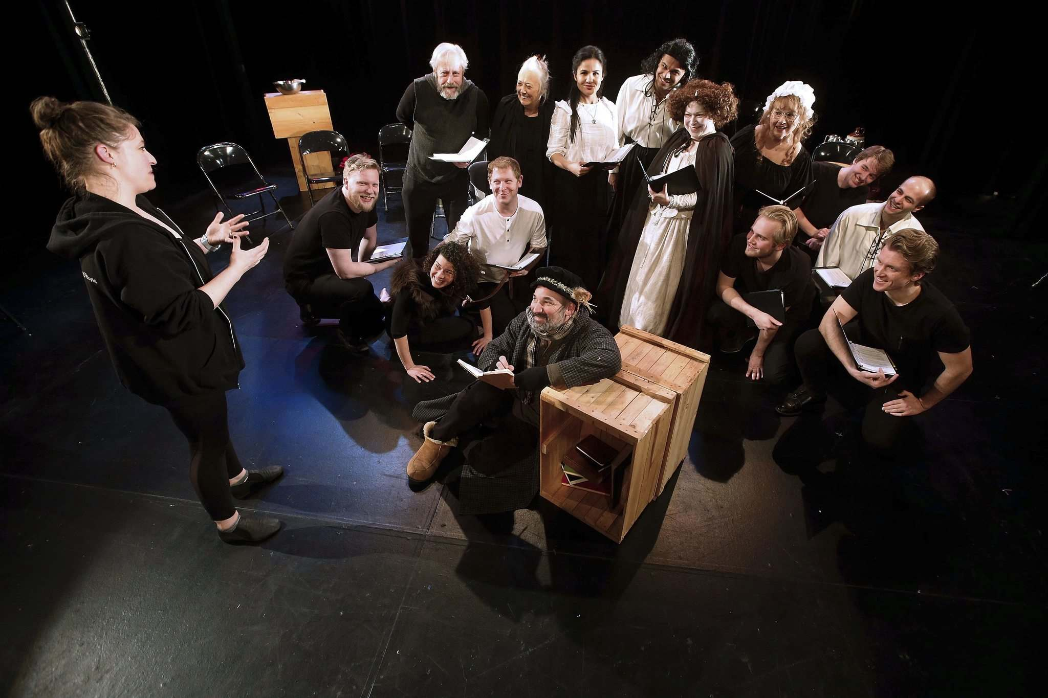 Katie German (left), director of Elizabeth Rex, says a six-day work week allows actors to immerse themselves in a role, but requires them to give up everything else. (John Woods / Winnipeg Free Press)