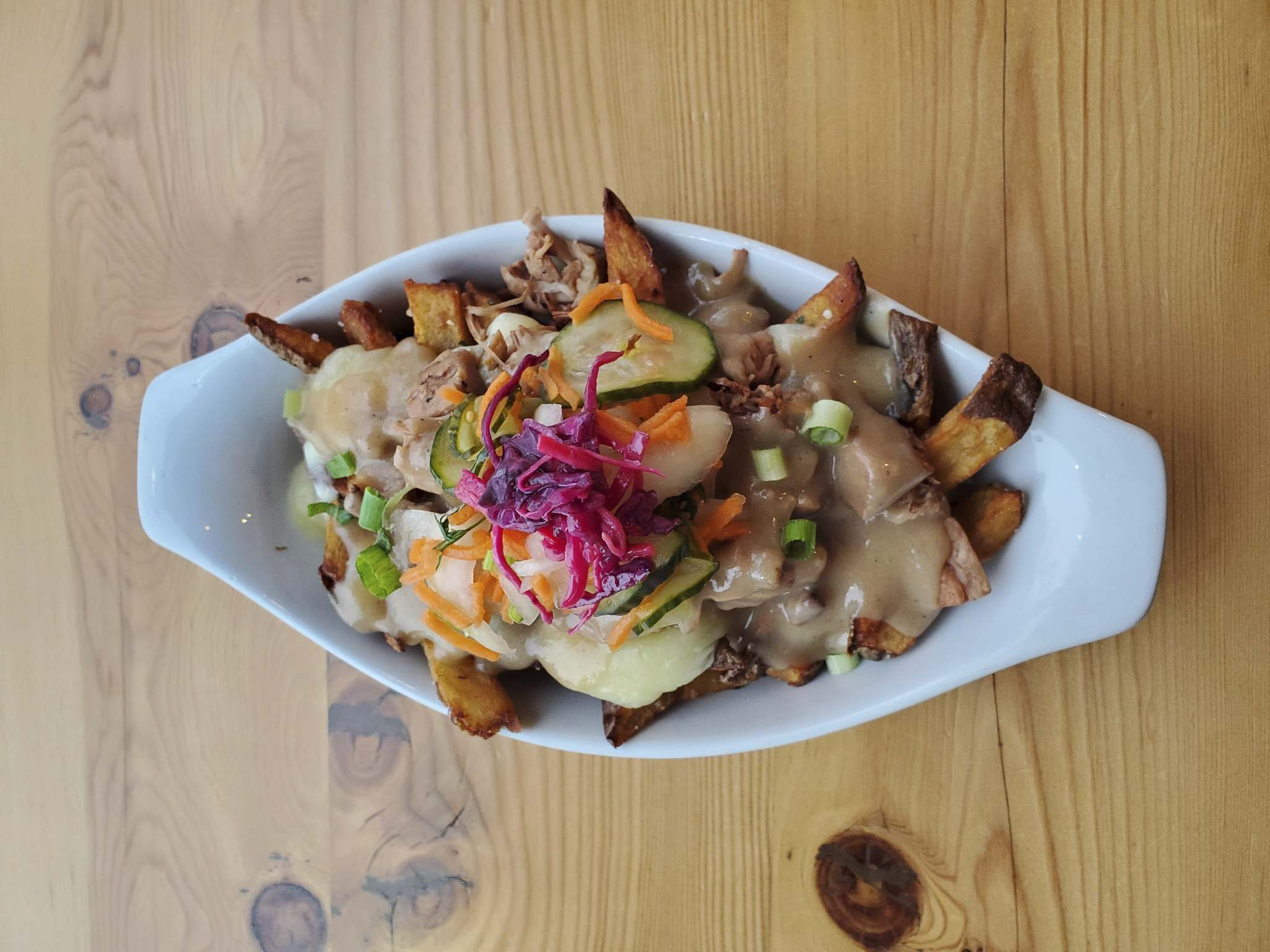 Cocoabeans is serving up beer-braised jackfruit, fresh-cut fries with Bothwell cheese curds, beer gravy and house-pickled vegetables. Gluten-free with a dairy-free and vegan option.</p></p>