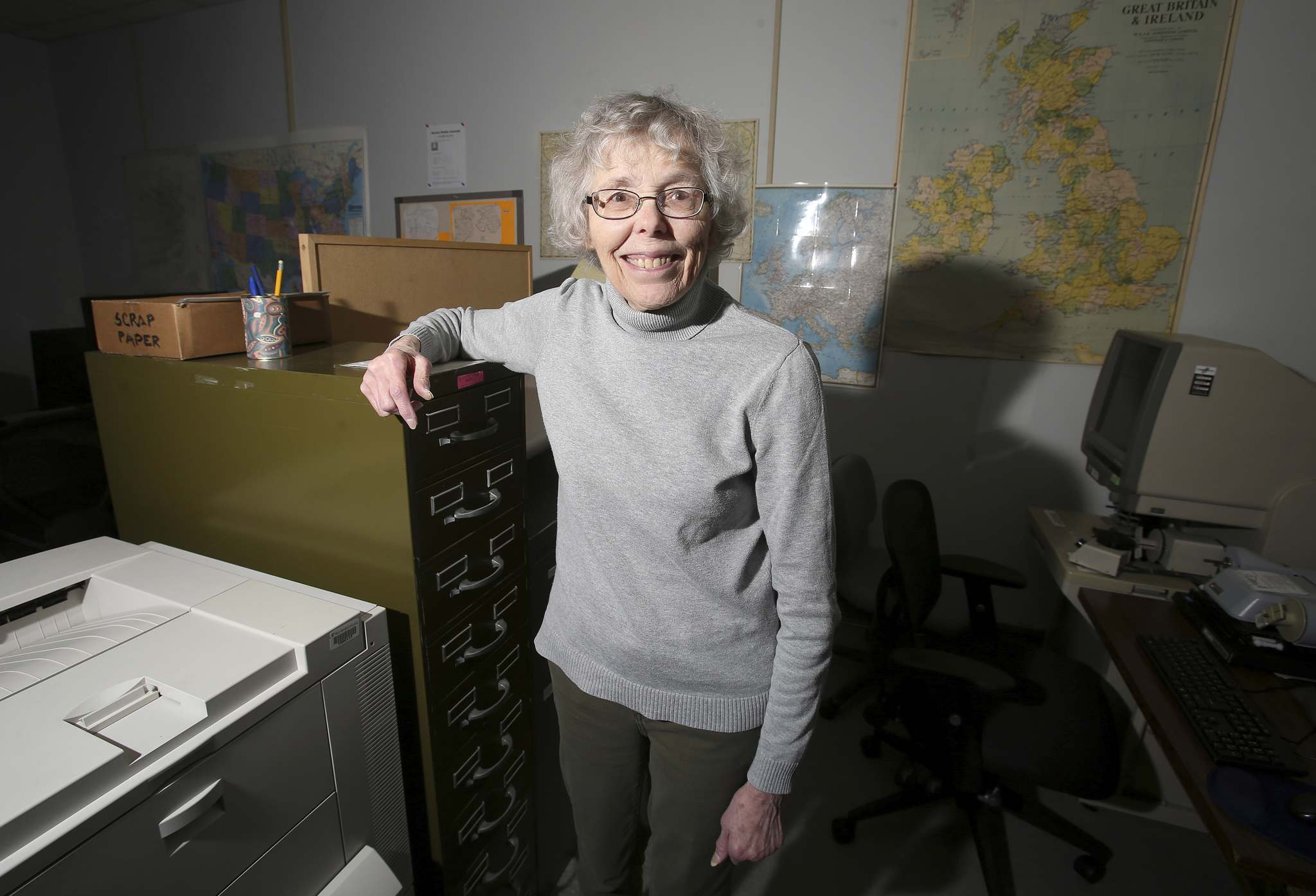 Volunteer Sheila Woods is part of the research team that helps people fill in the gaps in their family history.</p></p>