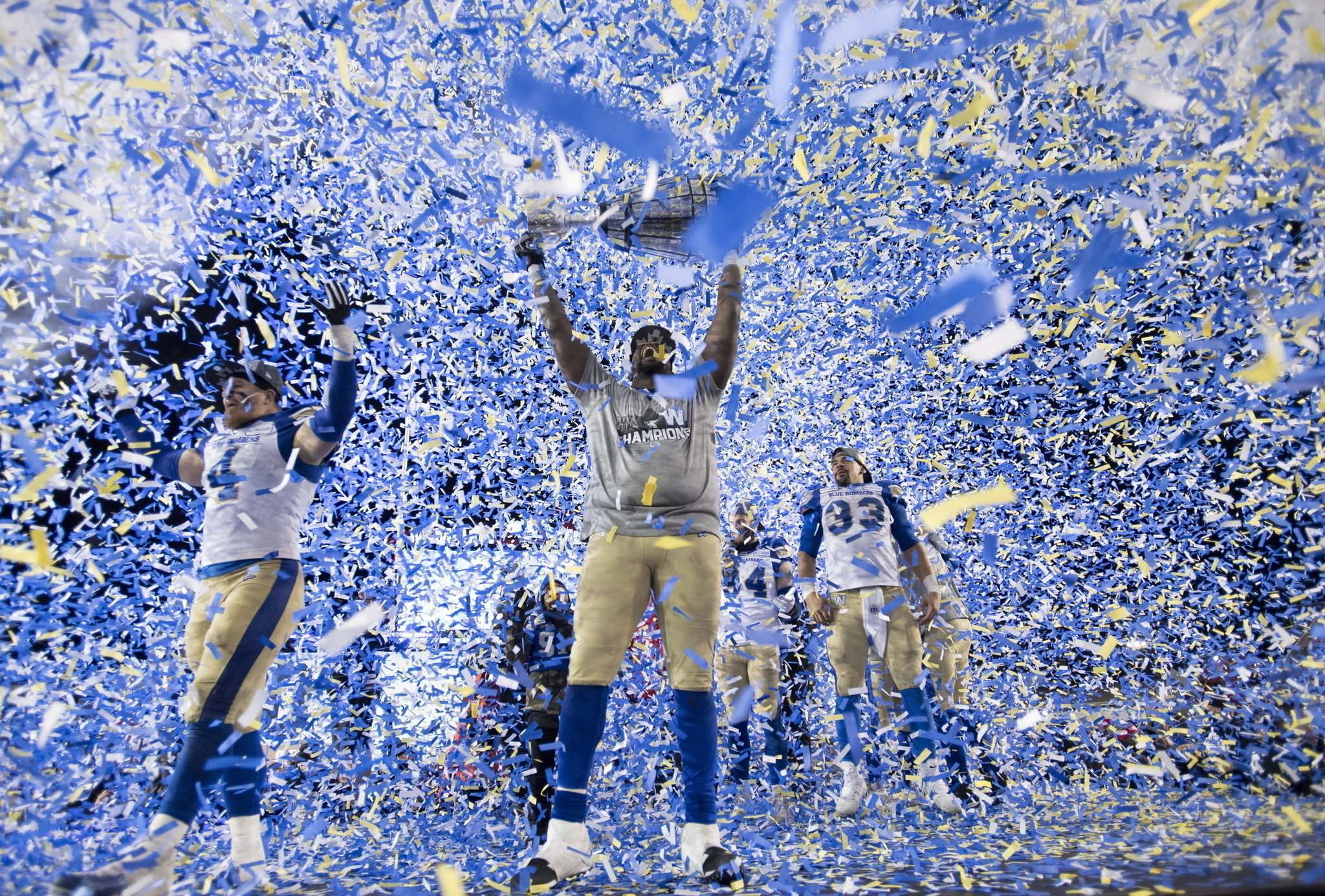 The Winnipeg Blue Bombers won their first Grey Cup in 29 years on Nov. 24 in Calgary. (Nathan Denette / The Canadian Press files)</p>