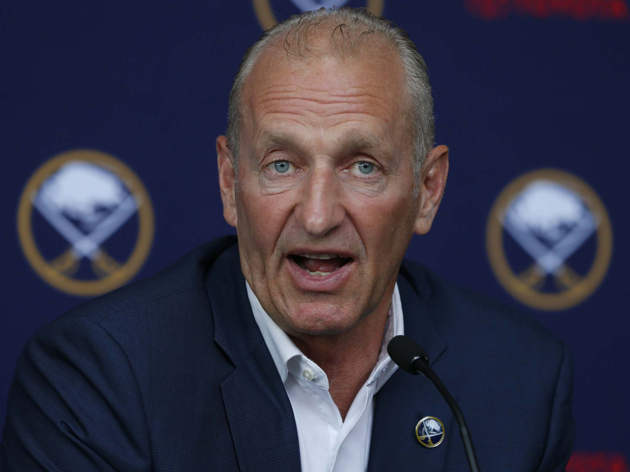 Buffalo Sabres head coach Ralph Krueger addresses the media during an NHL hockey introductory press conference Wednesday, June 5, 2019, in Buffalo N.Y. (AP Photo/Jeffrey T. Barnes)</p>