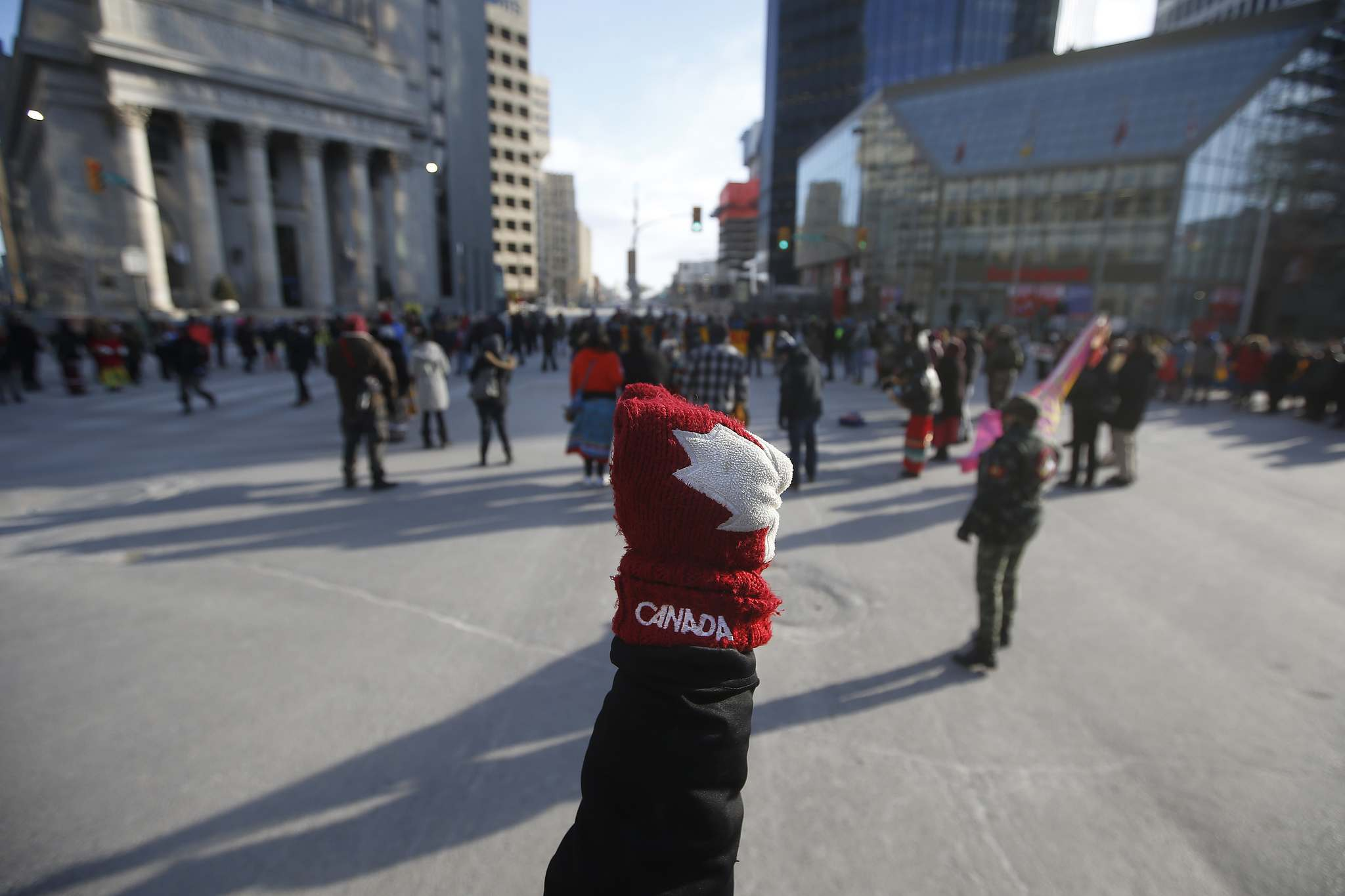 <p>Protesters in support of Wet'suwet'en blockades close Portage and Main to traffic in Winnipeg Wednesday.</p>
