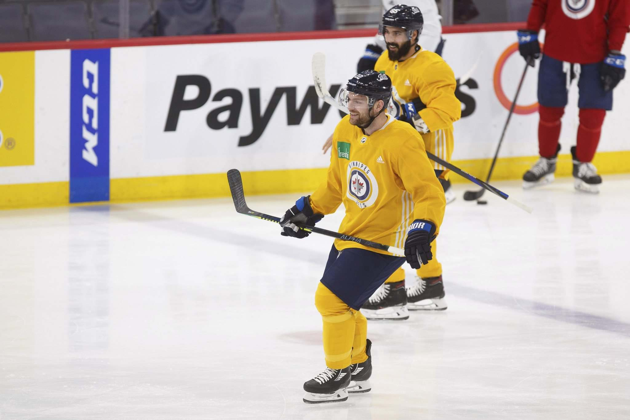 MIKE DEAL / WINNIPEG FREE PRESS</p><p>Winnipeg Jets Mark Letestu (front) and Mathieu Perreault skate in yellow non-contact jerseys during Monday's practice at Bell MTS Place. Letestu was a full participant on Tuesday.</p>