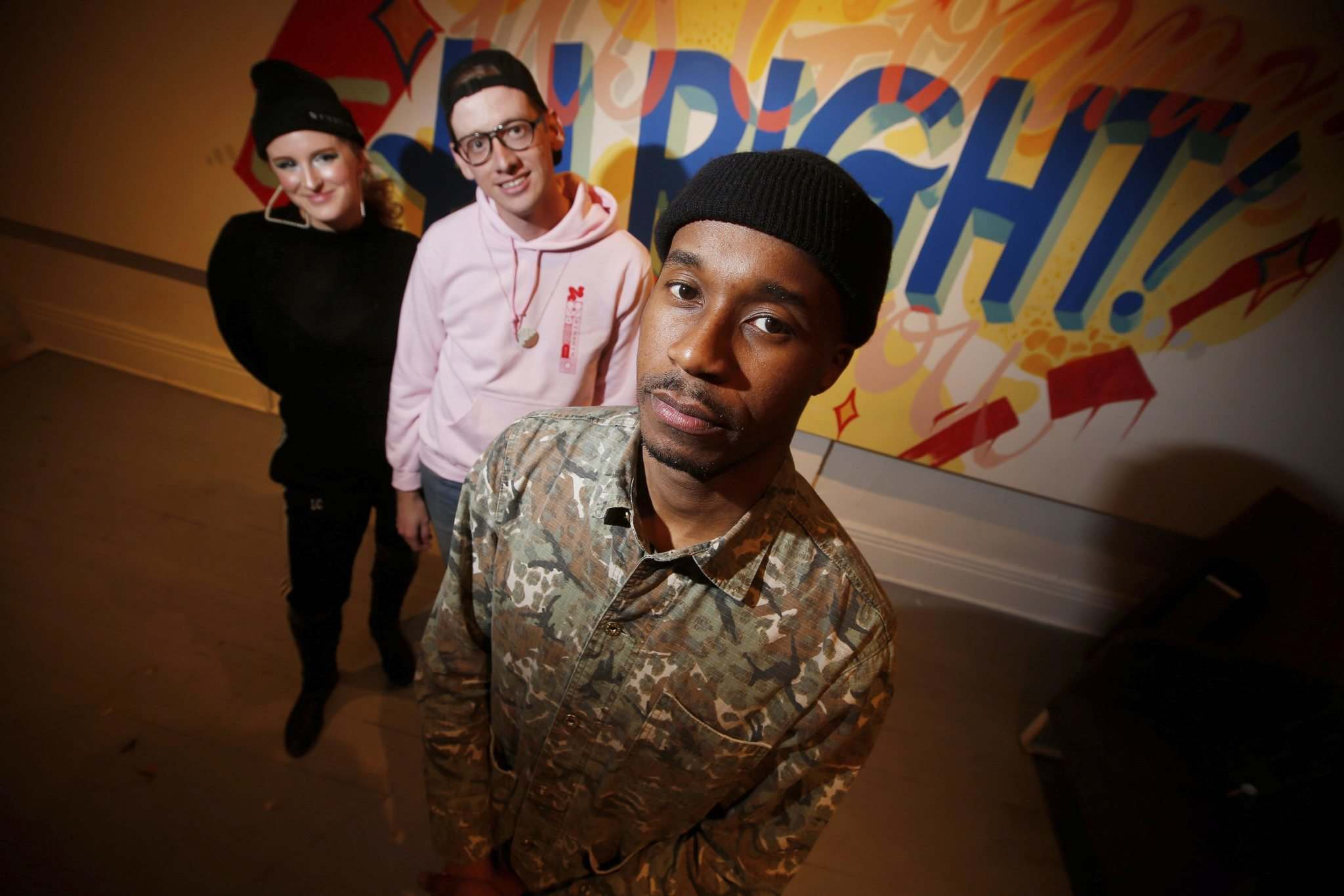 Chloe Chafe (from left) and Andrew Eastman's Synonym Sound was created to help musicians like Anthony Sannie, a.k.a. Anthony OKS, create a consistent visual esthetic for their work. (John Woods / Winnipeg Free Press)