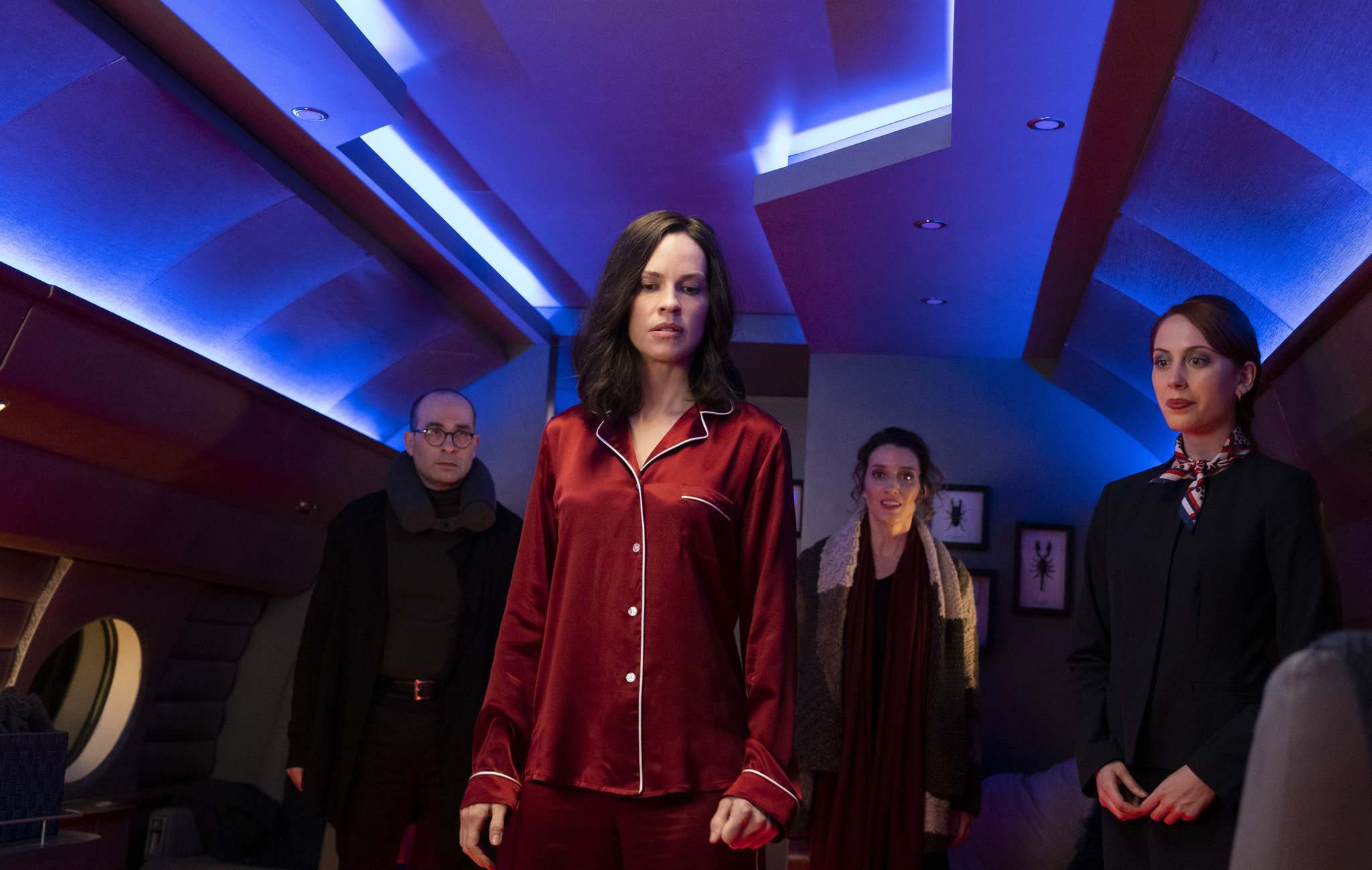 Patti Perret/Universal Pictures</p><p>Hilary Swank as Athena: Red satin pyjamas are the uniform of the liberal elite.</p>