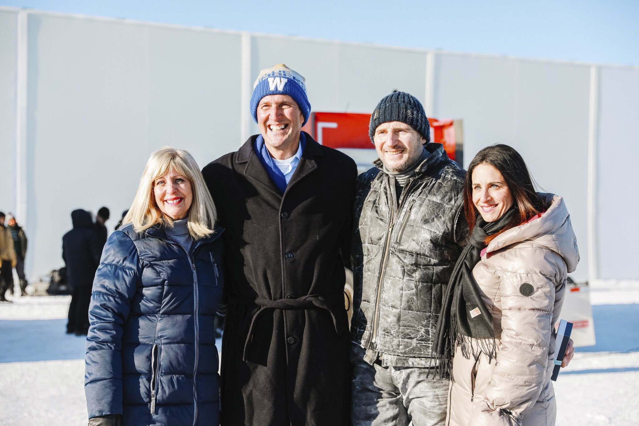 "TWITTER</p><p>Manitoba Sport, Culture and Heritage Minister Cathy Cox, Premier Brian Pallister, actor Liam Neeson and Manitoba Film & Music CEO and Film Commissioner Rachel Margolis on the set of ""The Ice Road"" earlier this month. </p>"
