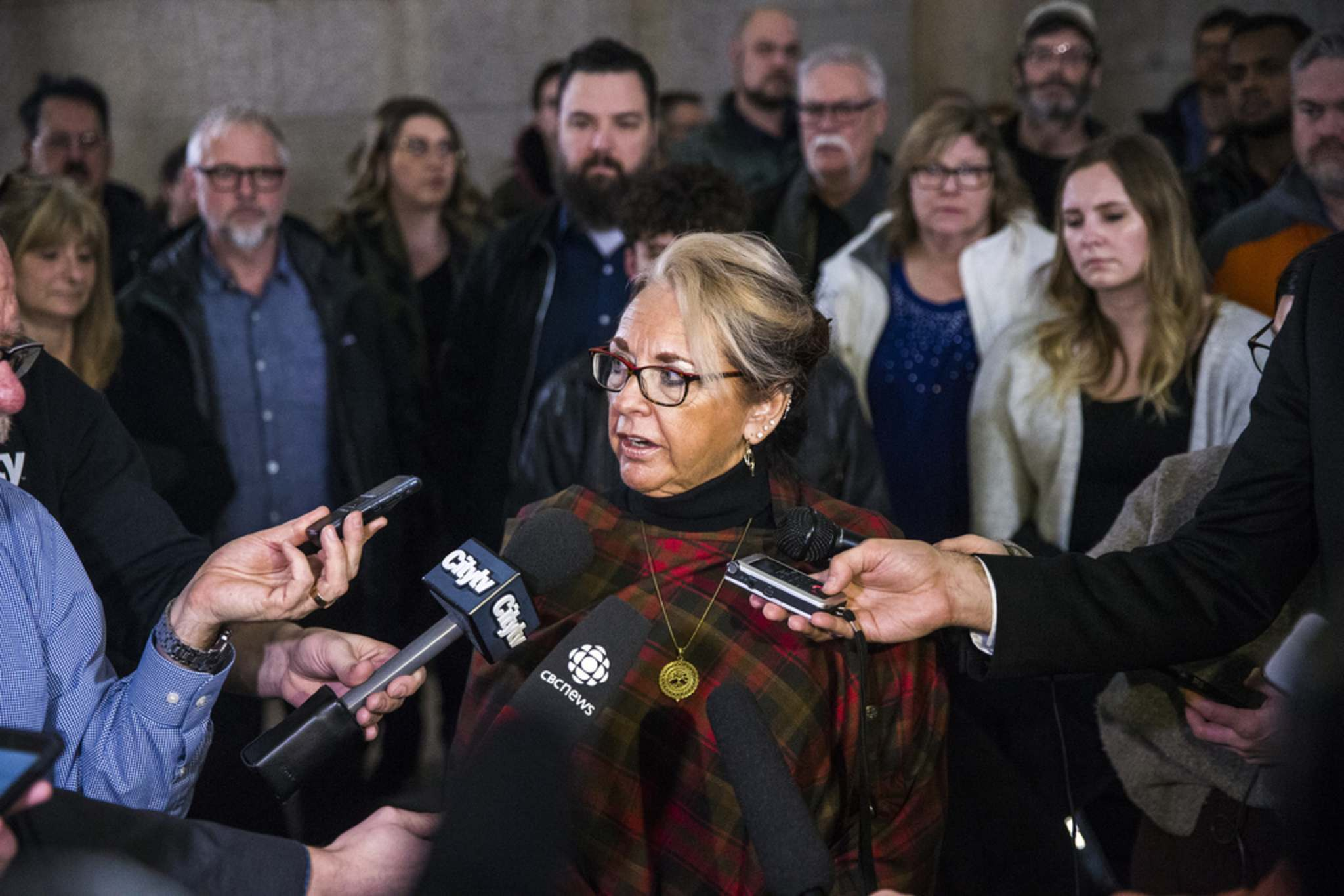 "MIKAELA MACKENZIE / WINNIPEG FREE PRESS FILES</p><p>MGEU president Michelle Gawronsky: ""It's more than raining; it's pouring."" </p>"