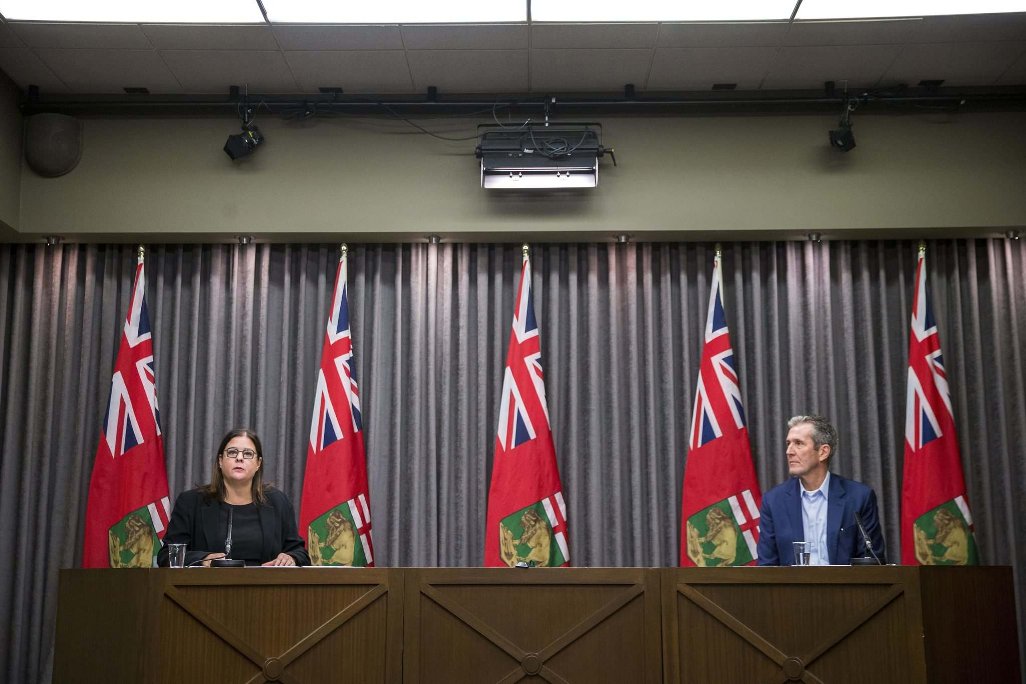 MIKAELA MACKENZIE / WINNIPEG FREE PRESS</p><p>Families Minister Heather Stefanson speaks about child care after Premier Brian Pallister announced a state of emergency in Manitoba on March 20.</p>