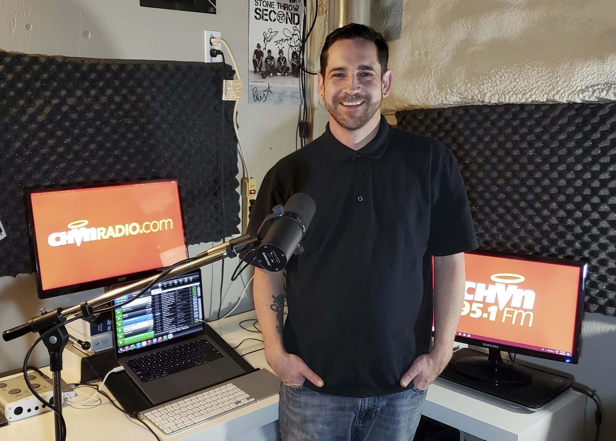 SUPPLIED</p><p>On-air host of CHVN, Winnipeg's only Christian radio station, Mike Thom in his basement studio.</p></p>