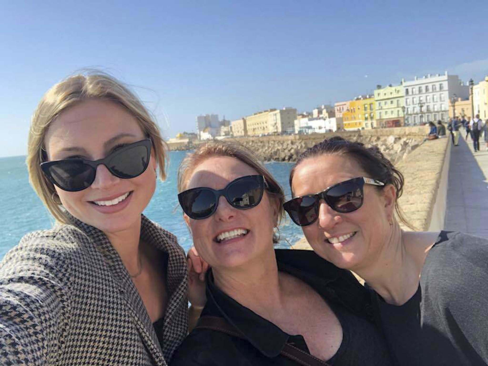 Supplied</p><p>Rebecca Dahl (from left) Leesa Dahl and Kim Lentowitsch in Cadiz, Spain.</p>