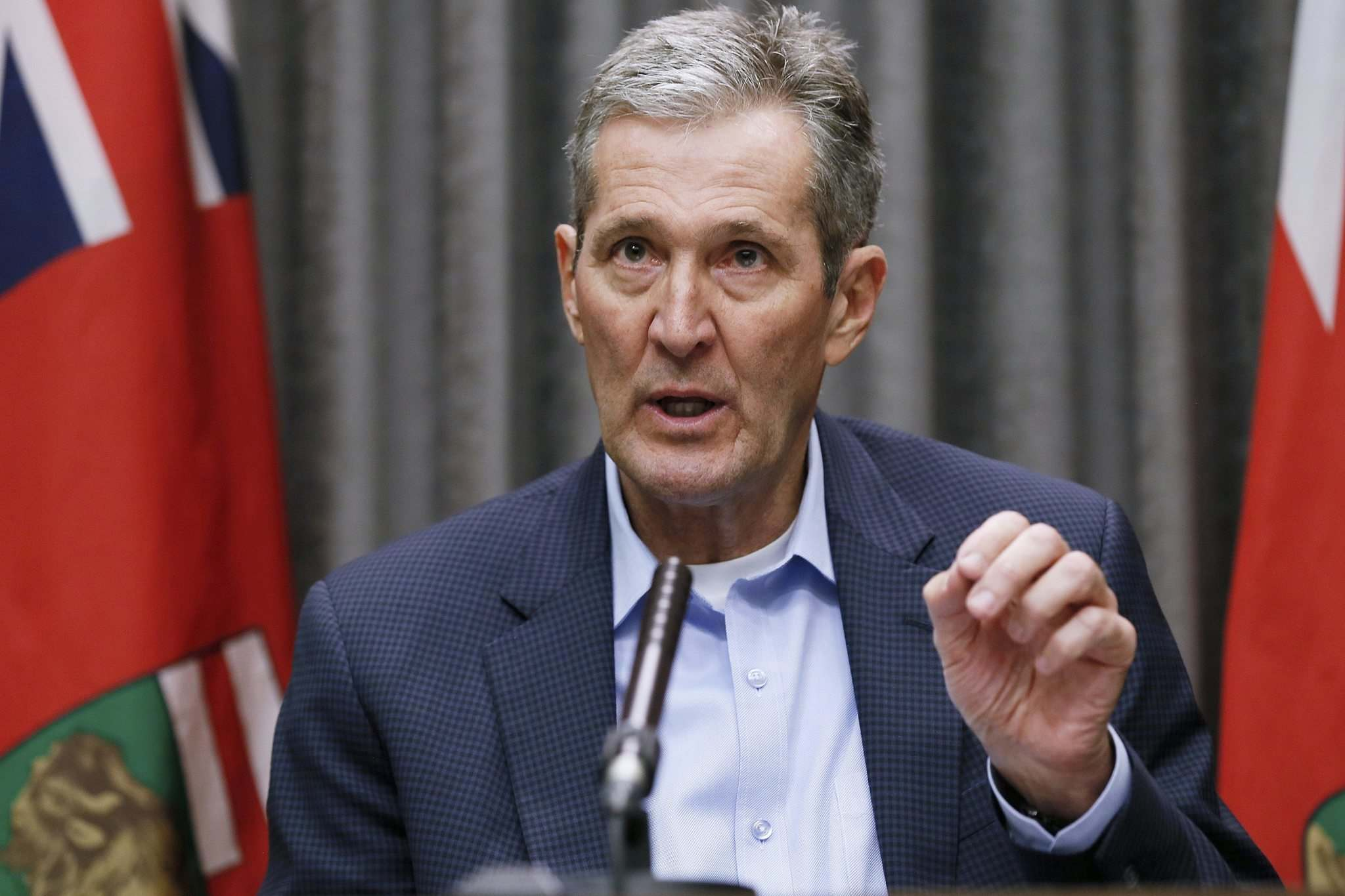 John Woods / The Canadian Press Files</p><p>Manitoba Premier Brian Pallister answers questions during a COVID-19 press briefing at the Manitoba legislature.</p>