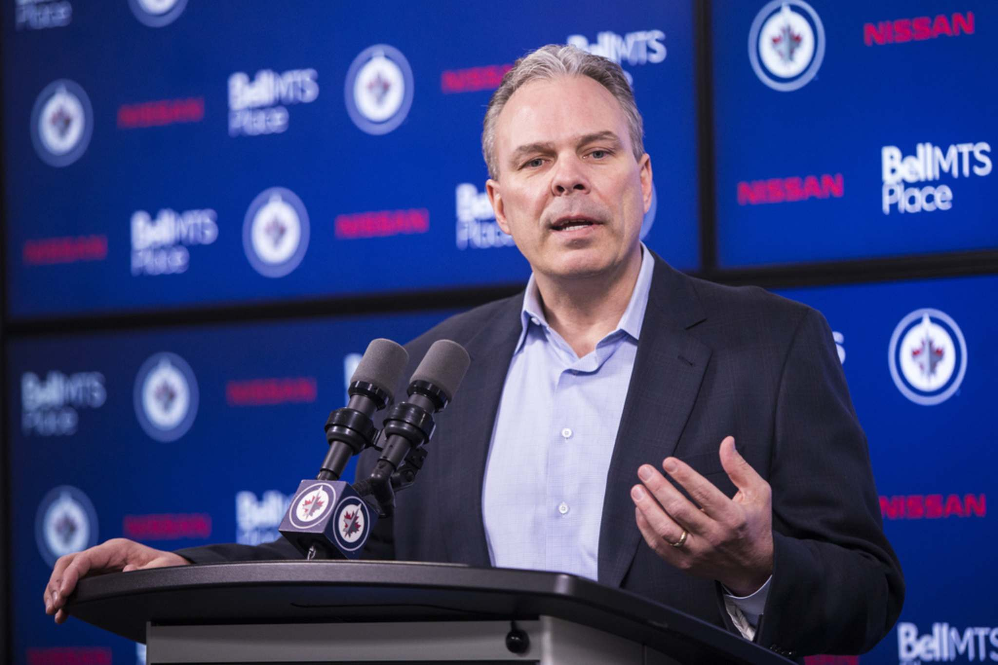 """""""We will await further instructions on possible return to play protocols from the National Hockey League,"""" Winnipeg Jets GM Kevin Cheveldayoff said in a statement."""