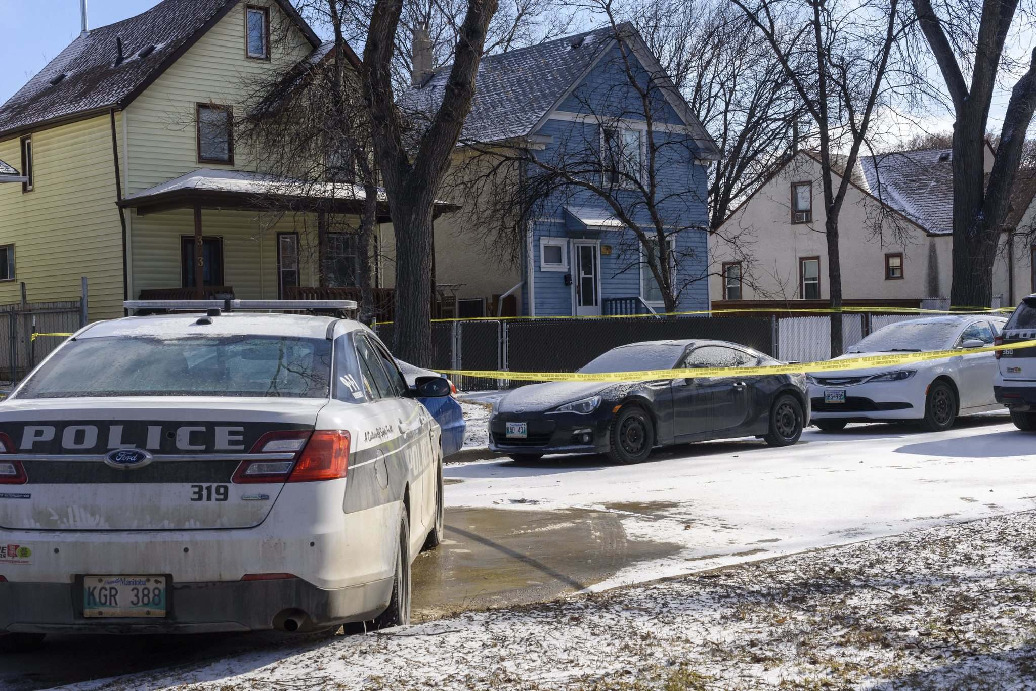 The man exited a house on Anderson Avenue to confront the police, Smyth said, and an officer fired his gun, striking the man. (Jesse Boily / Winnipeg Free Press)</p>