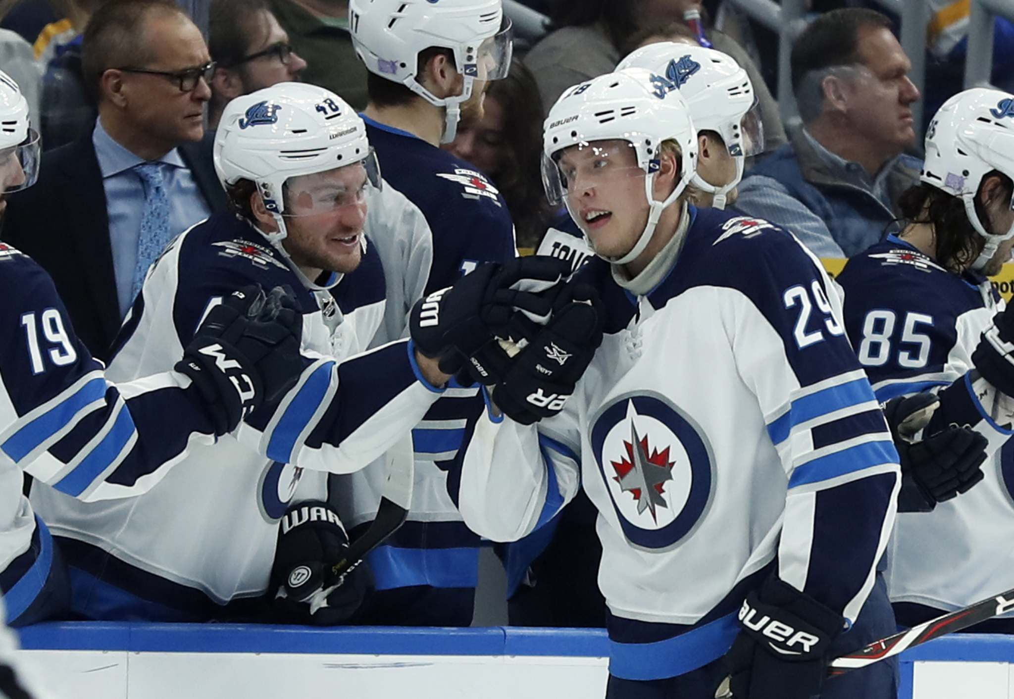 Patrik Laine is congratulated by teammates after scoring one of his five goals in one game against the St. Louis Blues, in November 2018.