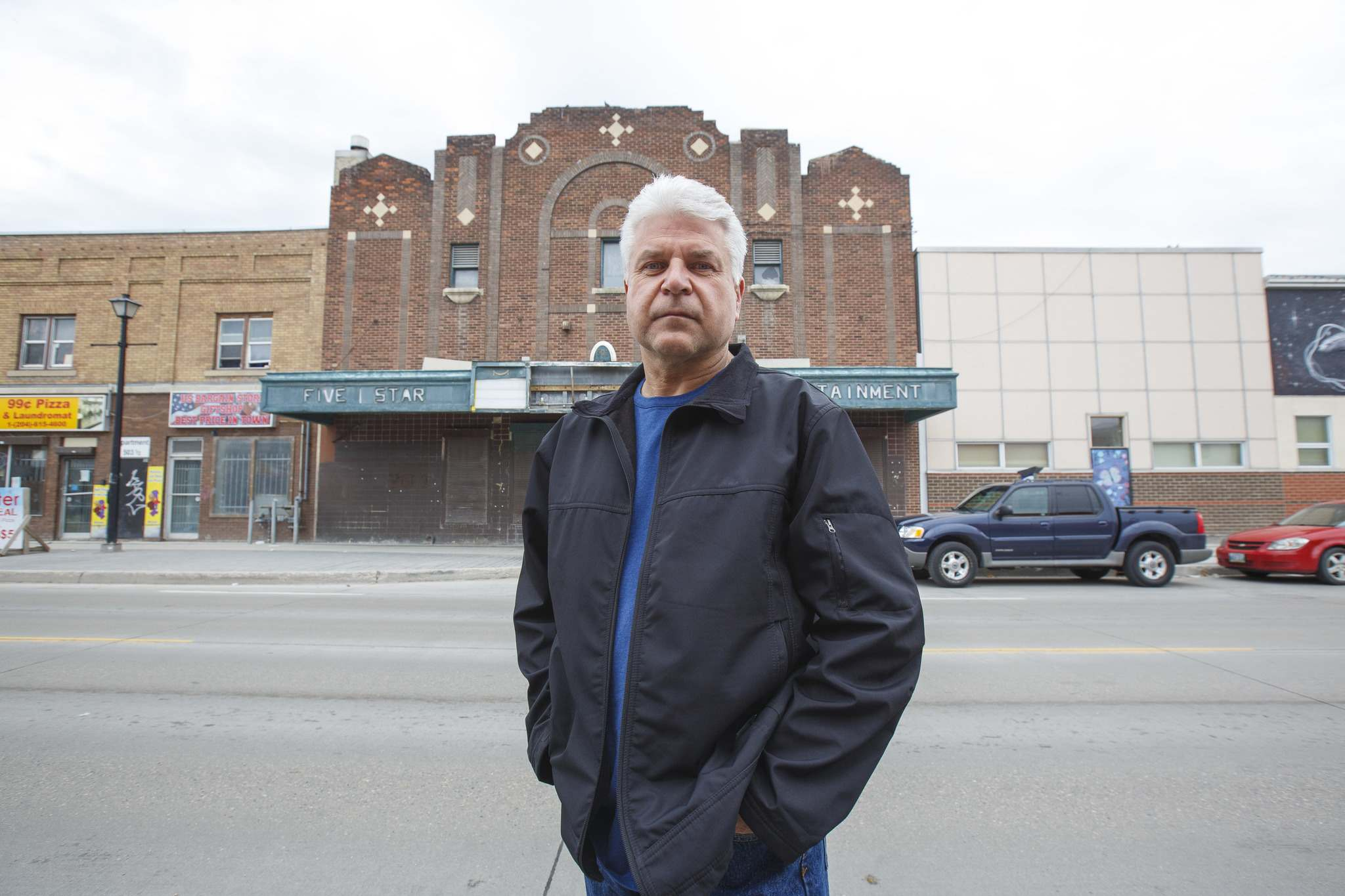 Jerry Olenko on Selkirk Avenue in front of the old Palace Theatre.</p>
