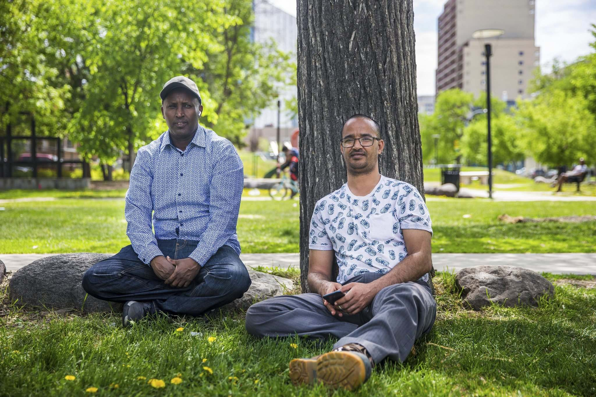 Nuun Ahmed (left) and Said Harir Omar talk about race, skin colour, and discrimination at Central Park.