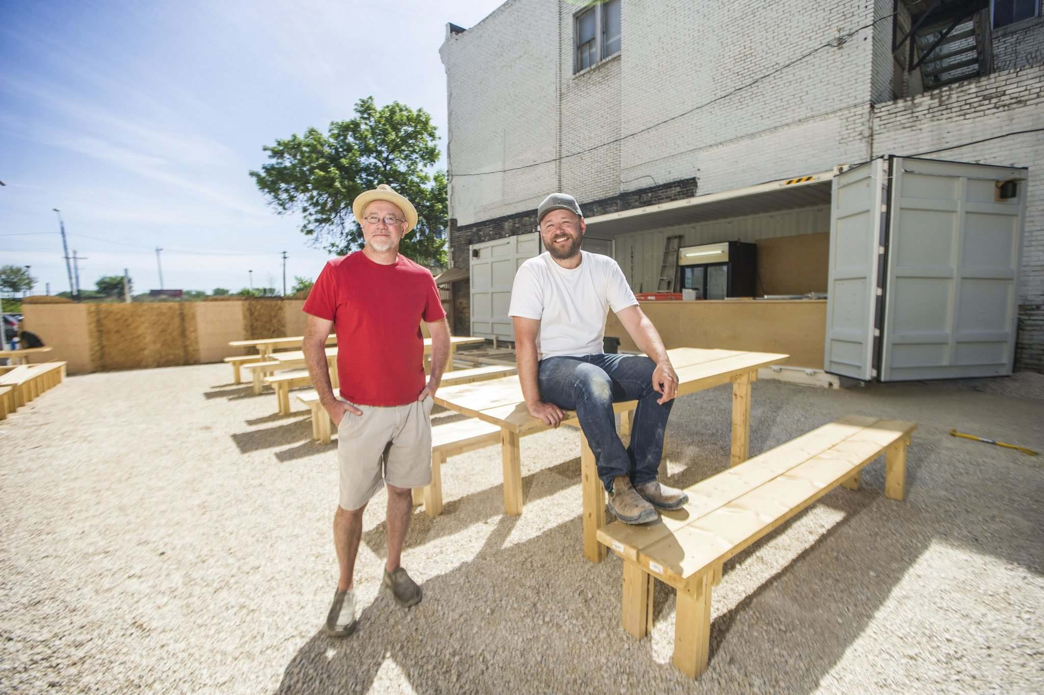 John Scoles (left) and Brad Chute, Beer Can organizers, hope to generate just enough revenue to pay the acts and Scoles' staff.</p>