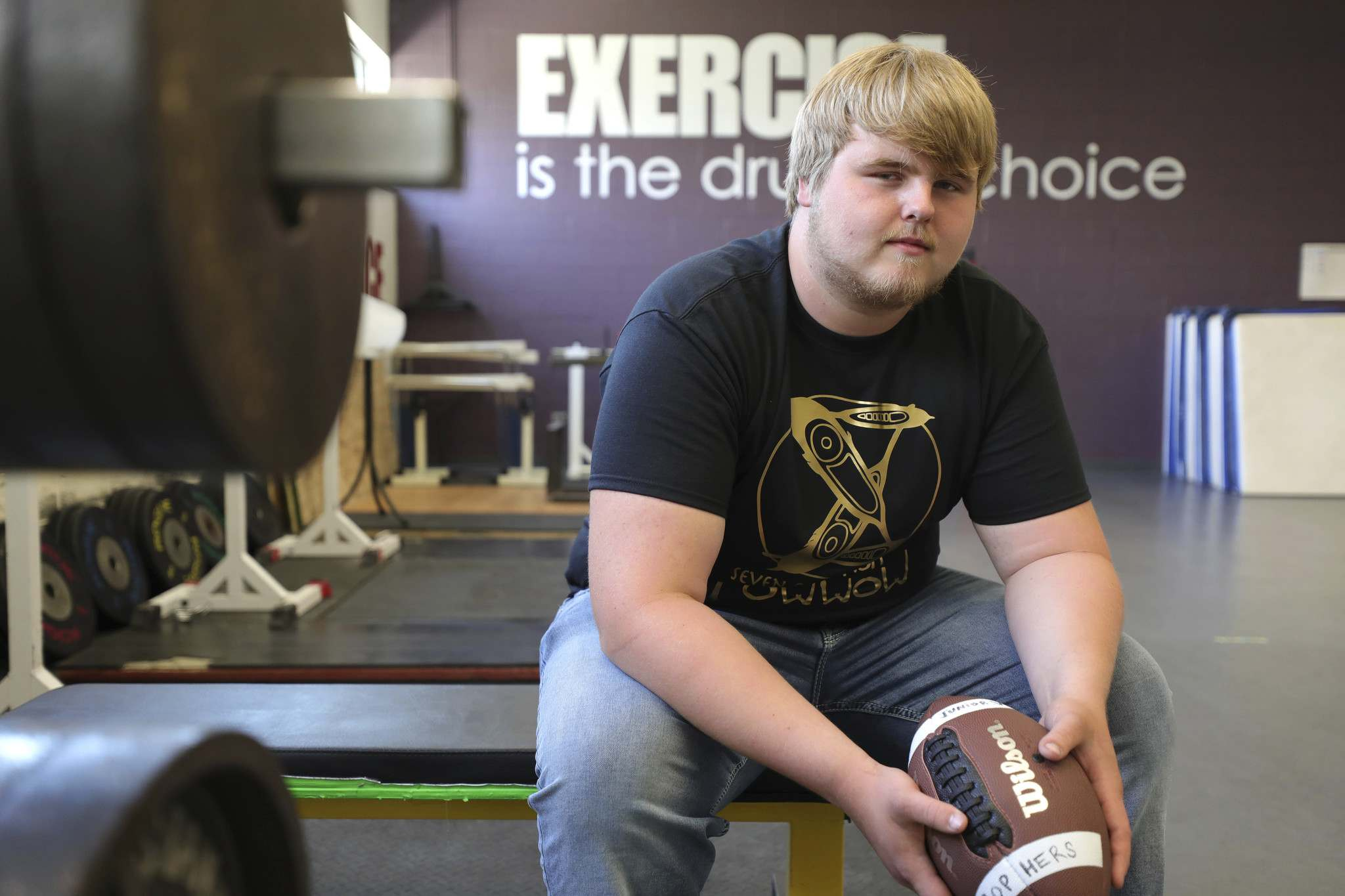 The workout gym at Garden City Collegiate is one of Brennan Vaarmeyer's favourite spaces at his high school. He plans on continuing to play football with the Winnipeg Rifles. (Ruth Bonneville / Winnipeg Free Press)