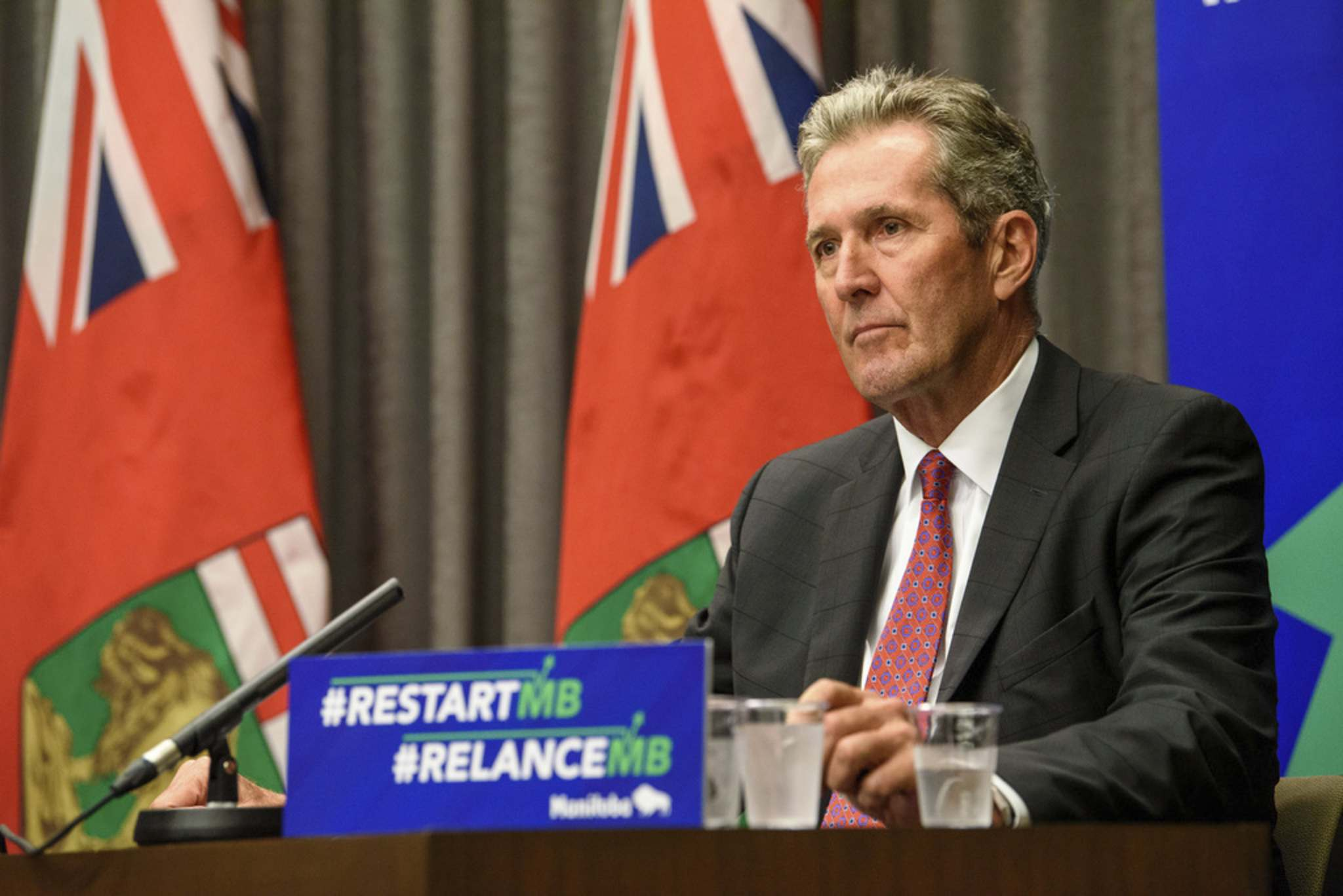 JESSE BOILY / WINNIPEG FREE PRESS</p><p>Premier Brian Pallister held a press conference at the Manitoba legislature building on Tuesday to release the province's most recent fiscal update.</p>