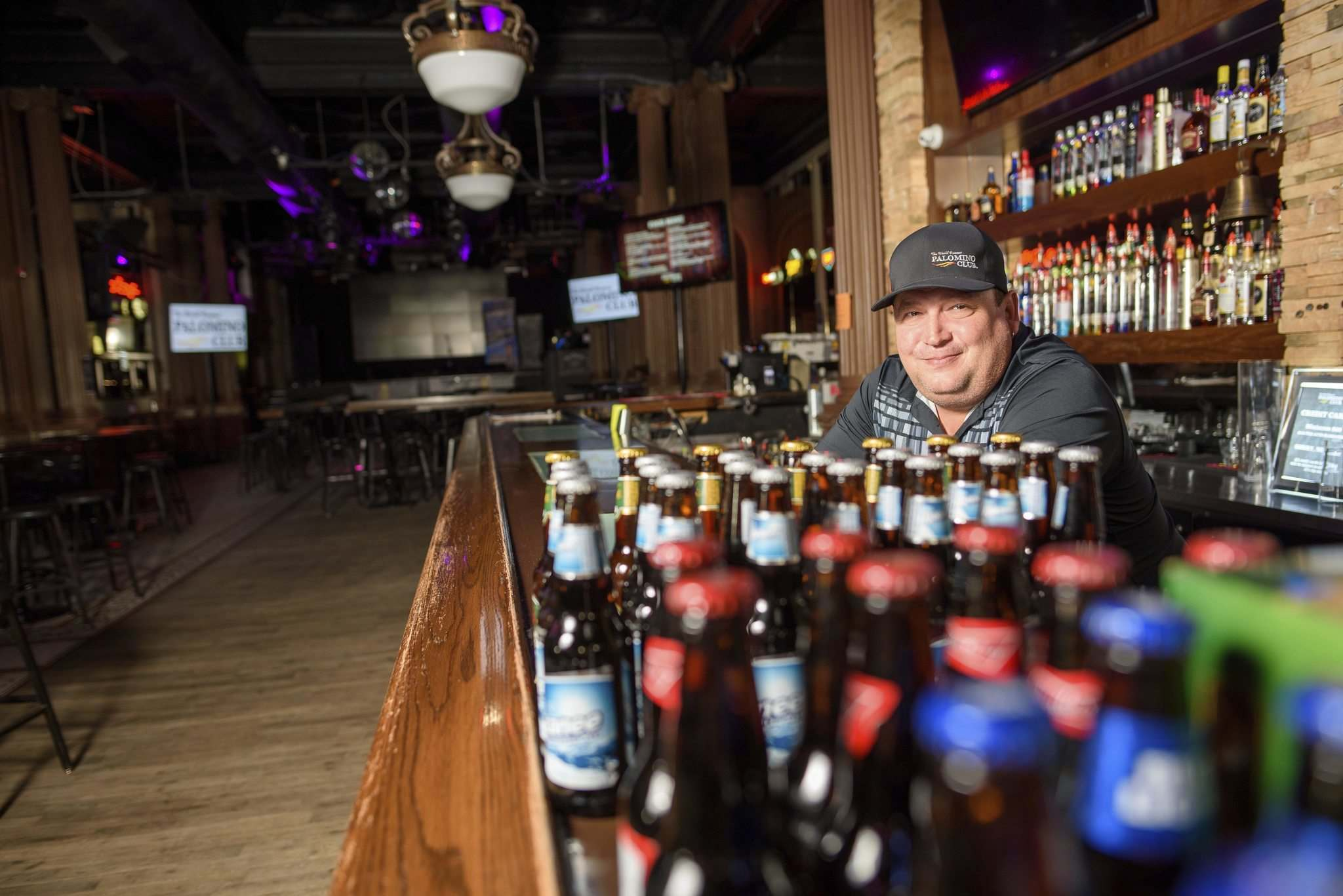 JESSE BOILY / WINNIPEG FREE PRESS</p><p>Christian Stringer, owner of Winnipeg's World Famous Palomino Club on Main Street. The nightclub reopened a couple of weeks ago and has taken steps to keep its customers safe.</p>