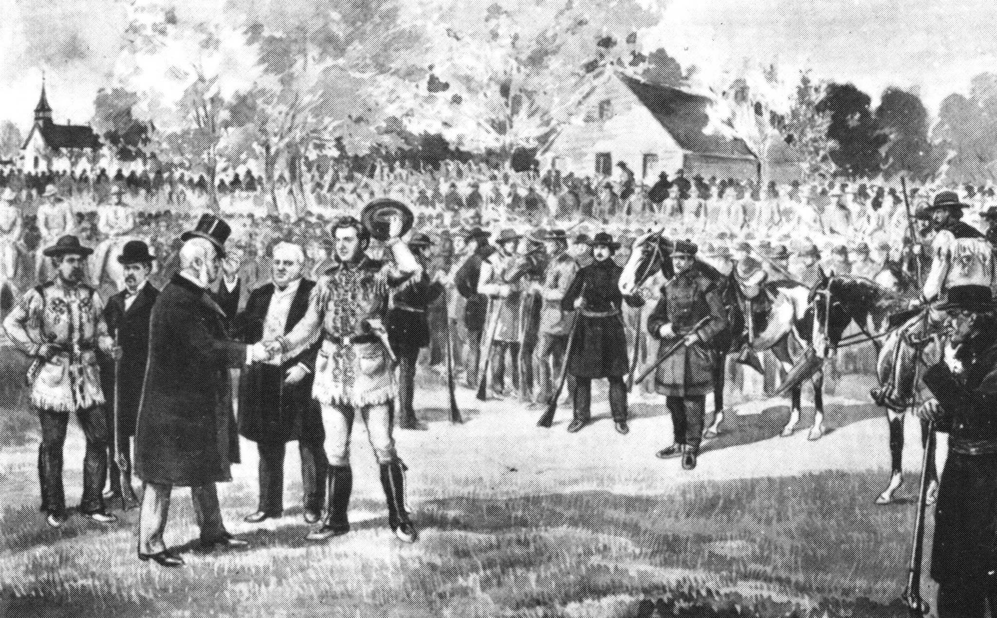 Lt.-Gov. Adams Archibald shakes hands with Louis Riel in a depiction of an Oct. 8, 1871 inspection of troops in St. Boniface, after Riel rallied hundreds of Métis to defend against a suspected Fenian raid.</p>