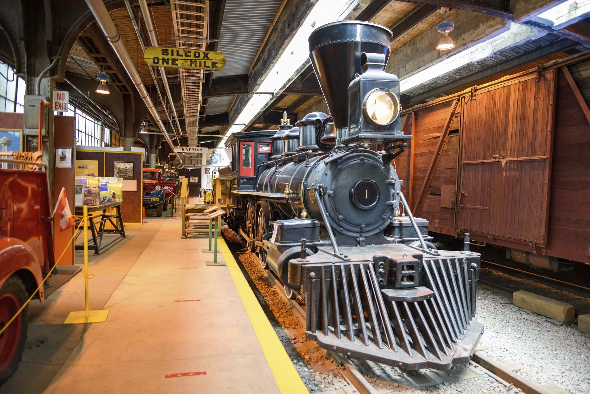 Visitors must wear masks to enter the Winnipeg Railway Museum, located at Union Station. (Jesse Boily / Winnipeg Free Press)