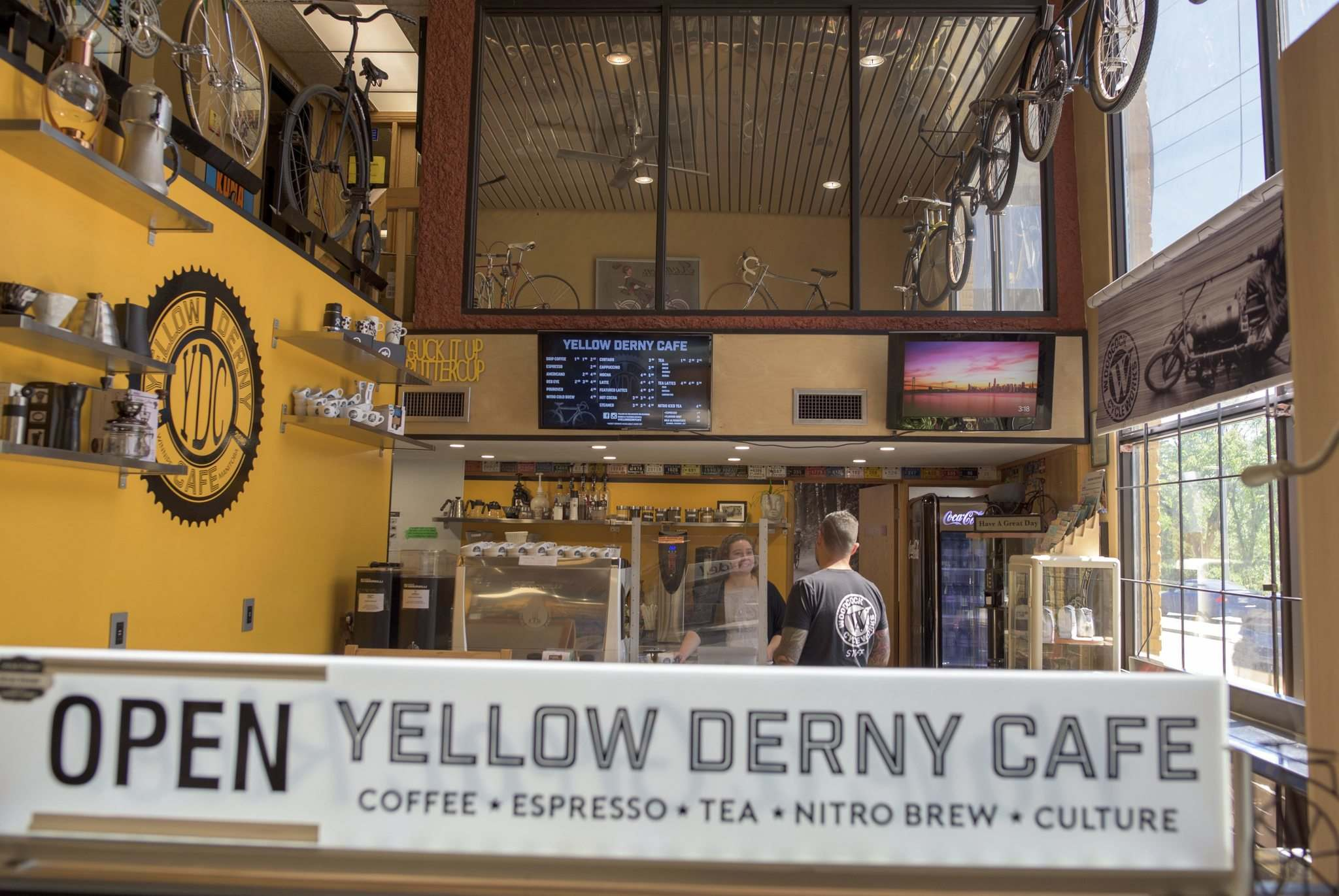 The Yellow Derny Cafe is a tiny coffee spot tucked into Woodcock Cycle Works.