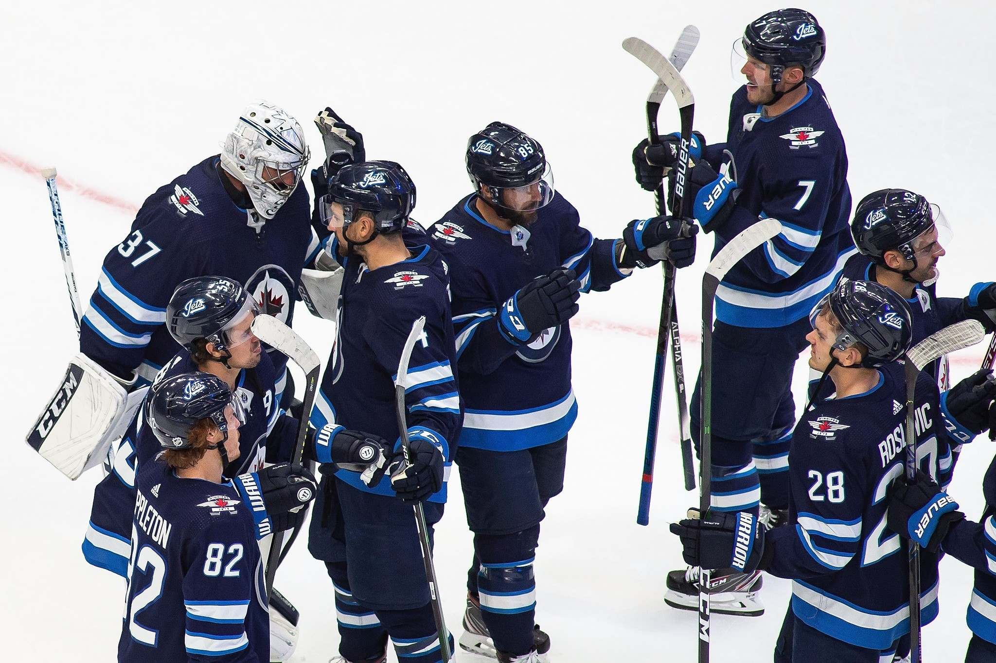 The Jets looked strong in their lone exhibition game, defeating the Vancouver Canucks 4-1 Wednesday night. (Files)