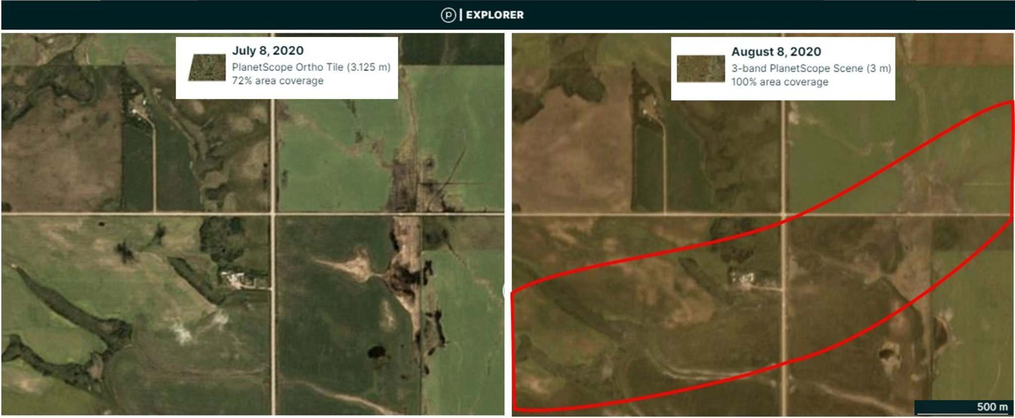 A before and after comparison of satellite images helps researchers assess the storm and its trajectory. (Planet.com, Northern Tornadoes Project)