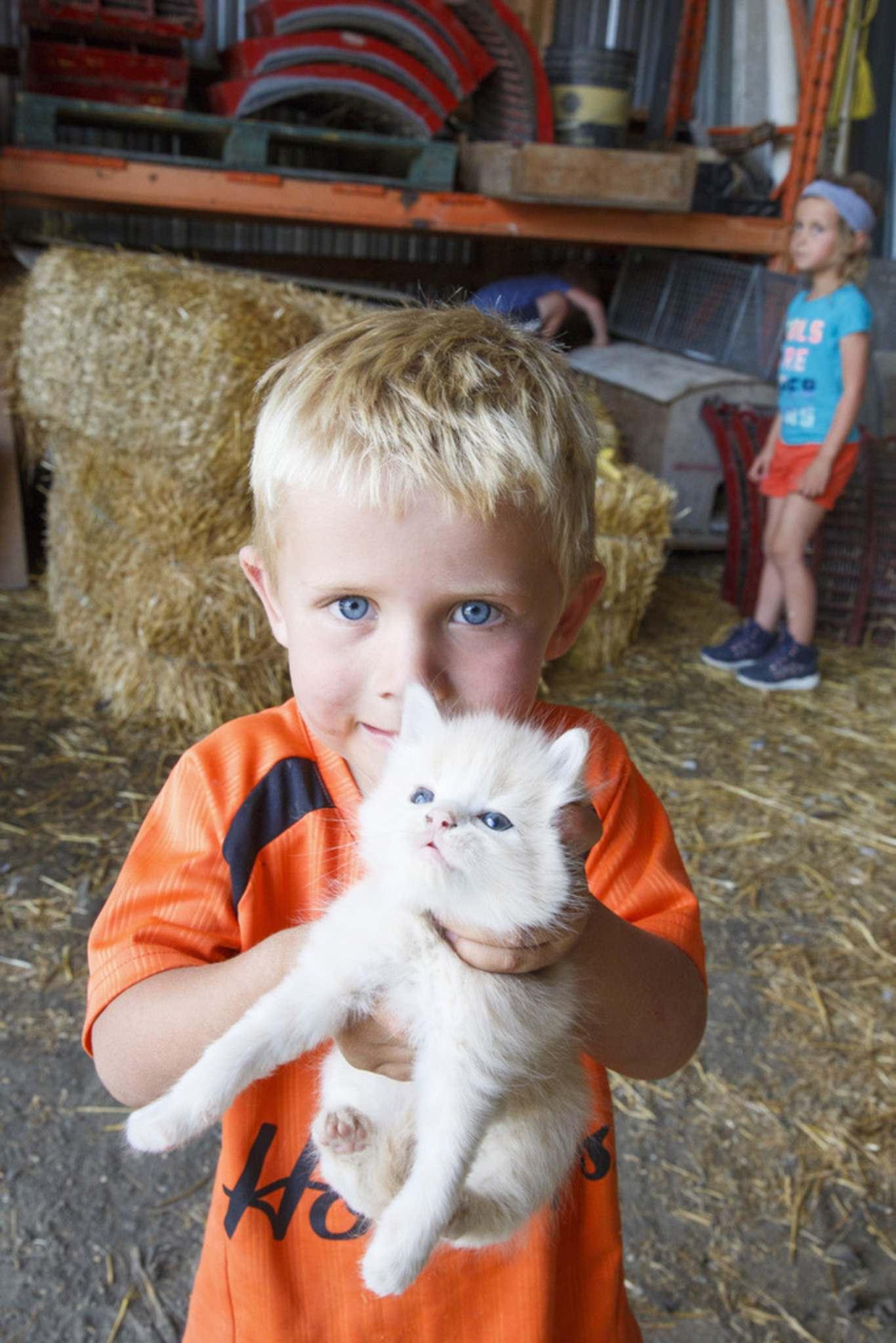 Everett shows off one of the new kittens.</p>