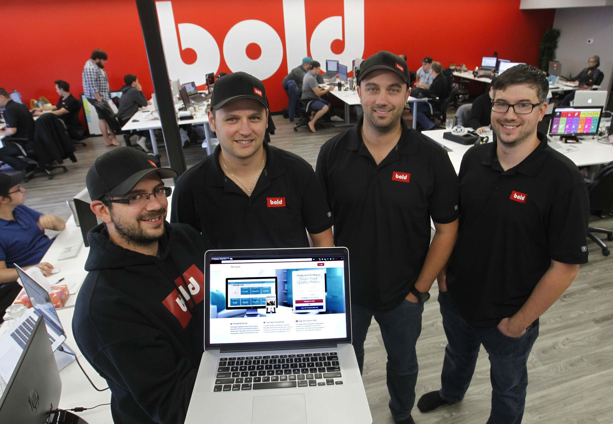 WAYNE GLOWACKI / WINNIPEG FREE PRESS</p><p>Bold Innovation Group partners from left, Eric Boisjoli, Stefan Maynard, Jason Myers and Yvan Boisjoli will be launching their photo-sharing social media platform Picticipate.</p>