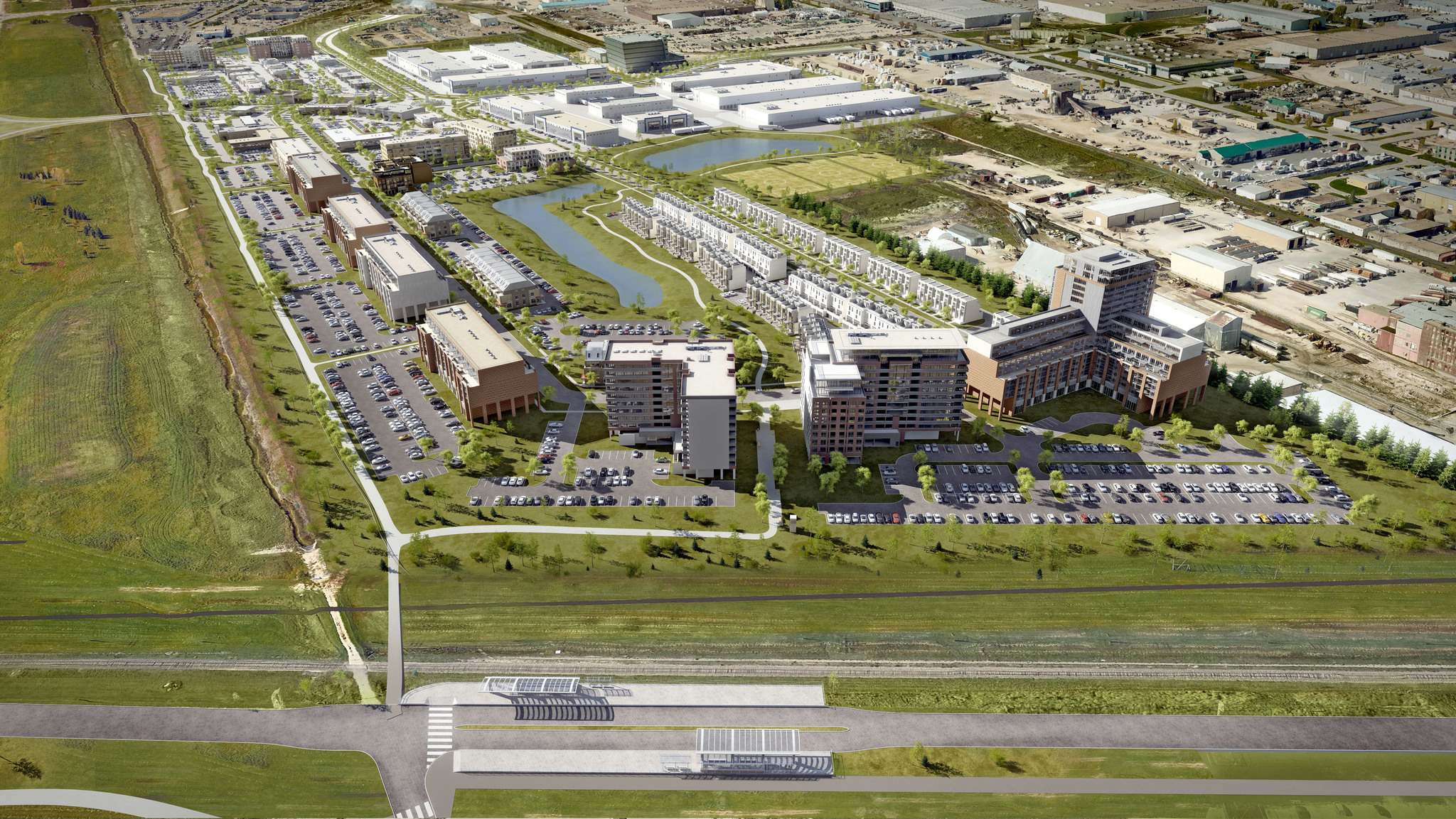 SUPPLIED</p><p>The Bishop Grandin Crossing development, located between Pembina Highway and Waverley Street will have direct access to the city&rsquo;s southwest rapid transit corridor, seen at the bottom of the above artist&rsquo;s rendering of the project.</p>