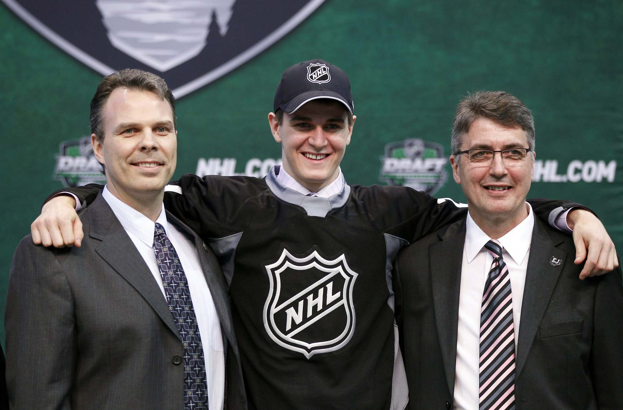 AP/Andy King / The Canadian Press files</p><p>Seventh-overall pick Mark Scheifele with GM Kevin Cheveldayoff (left) and then-coach Claude Noel at the 2011 draft.  </p></p>