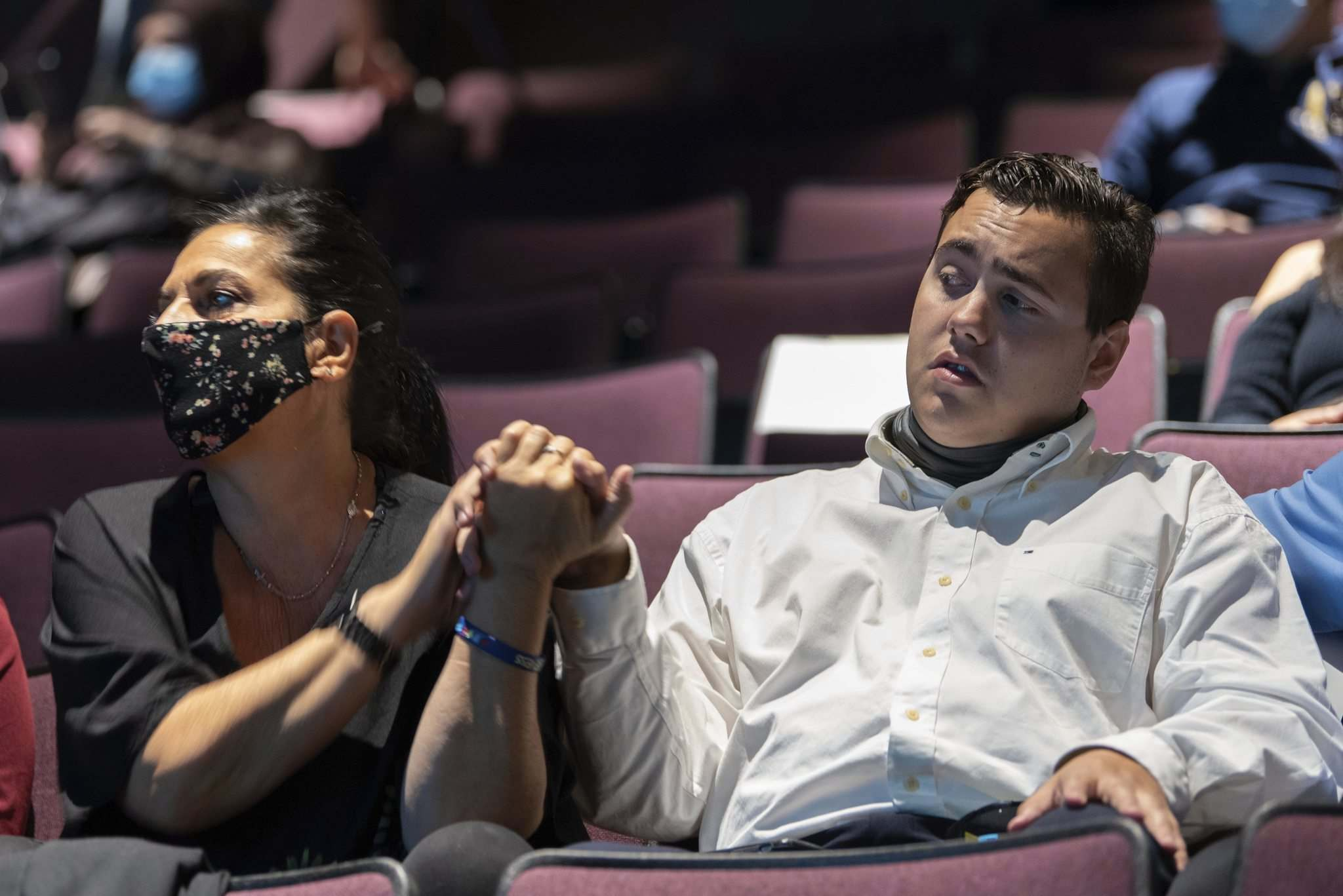 JESSE BOILY / WINNIPEG FREE PRESS</p><p>Sam Mercier prepares to hear the good news Wednesday night alongside mother Linda. The Grade 11 student at St. Maurice School won the top prize at the Diverse Minds competition for his story 'My Name is Sam and Yes I can!'</p></p>