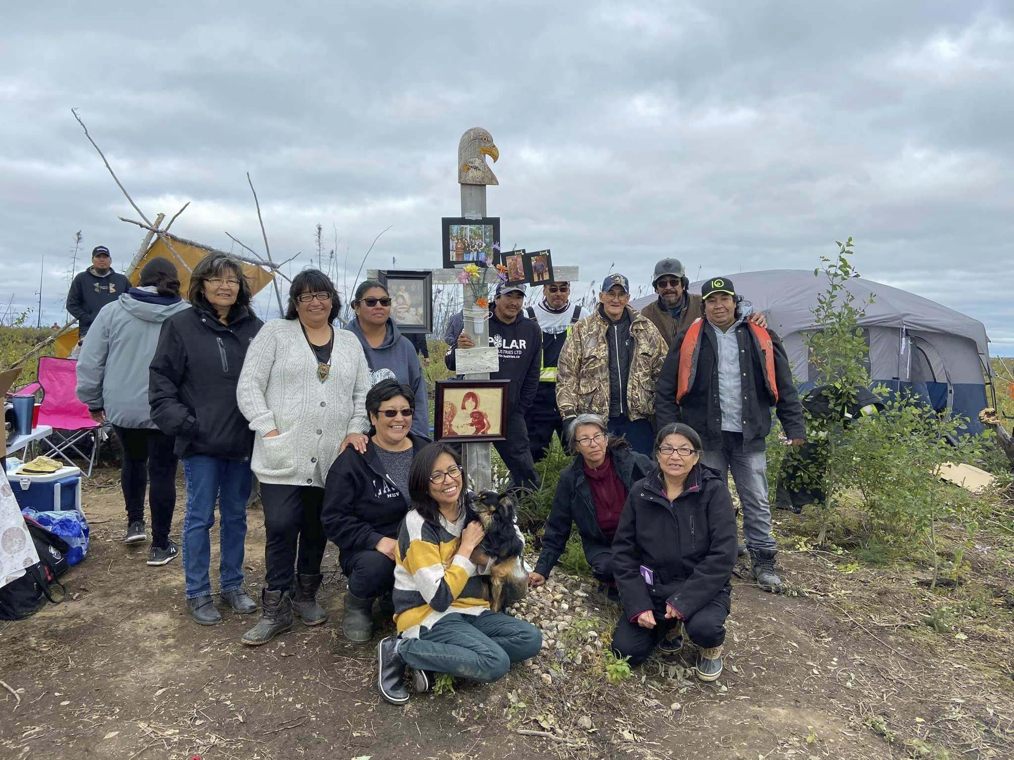 Members of the Kitchekeesik family gather for a final visit to Leon's Island in late August.</p>