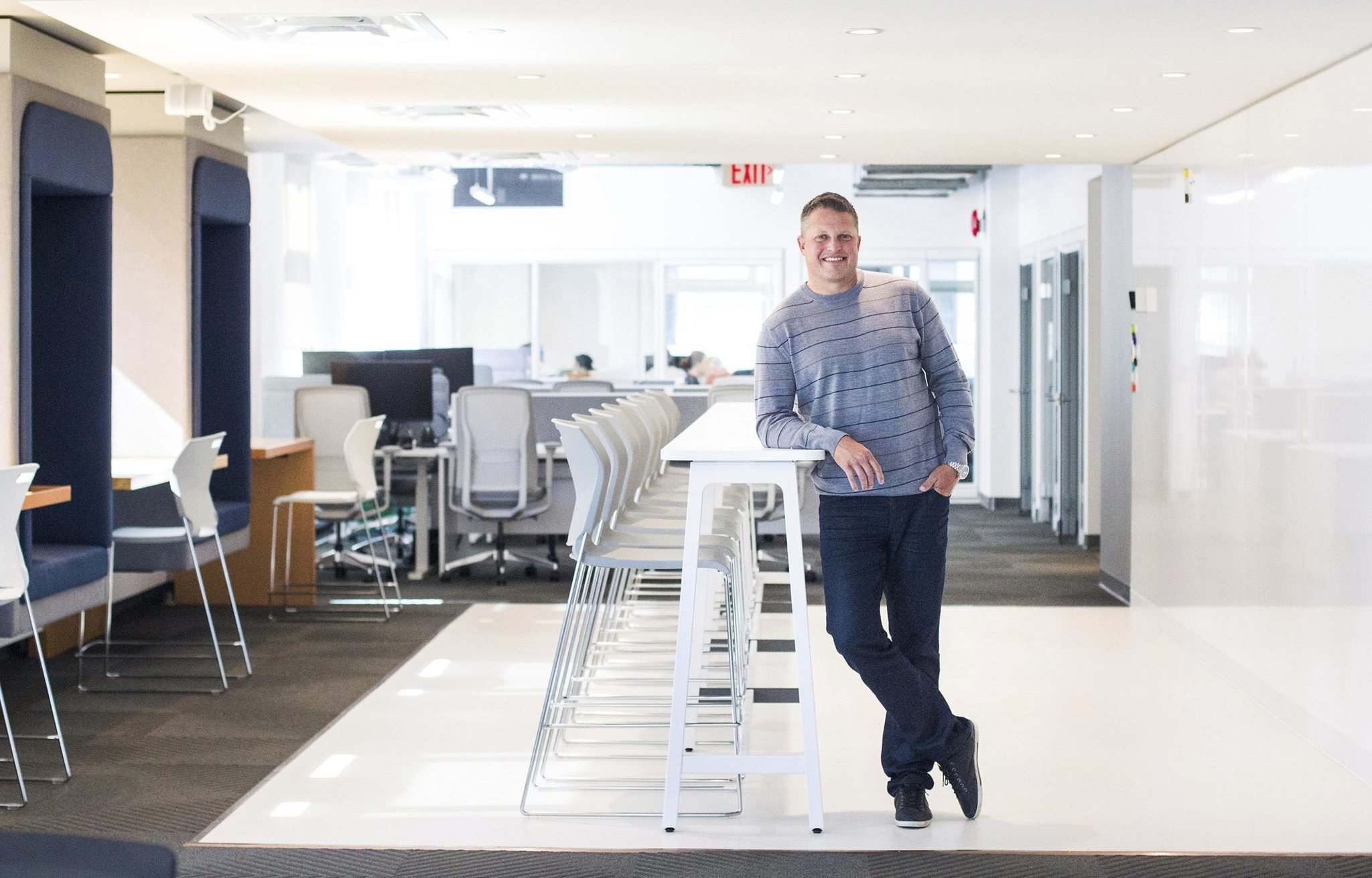 MIKAELA MACKENZIE / WINNIPEG FREE PRESS</p><p>Founder and CEO Jason Abbott at Launch Coworking on Lombard. The co-working business opened the location in March.</p>