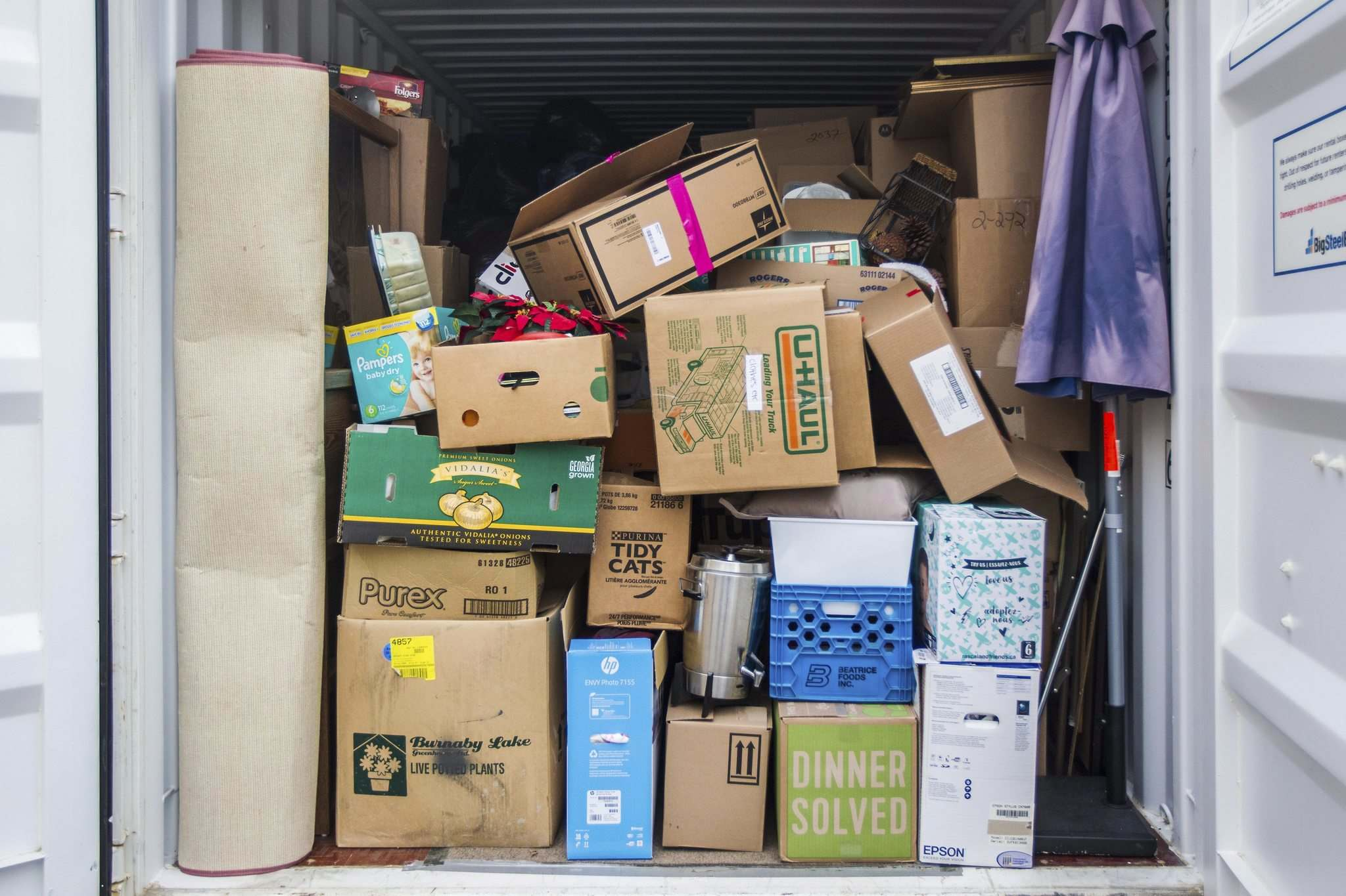 All donations to Mission Thrift Store are quarantined in this shipping container before going on the floor. (Mikaela MacKenzie / Winnipeg Free Press)