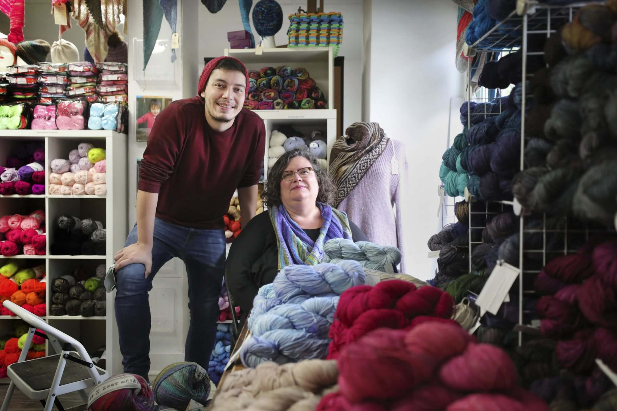 """Wolseley Wool owner, Mona Zaharia and her son Josh Zaharia, in their store on Westminster Ave.: """"It all took a big mental toll on us."""""""