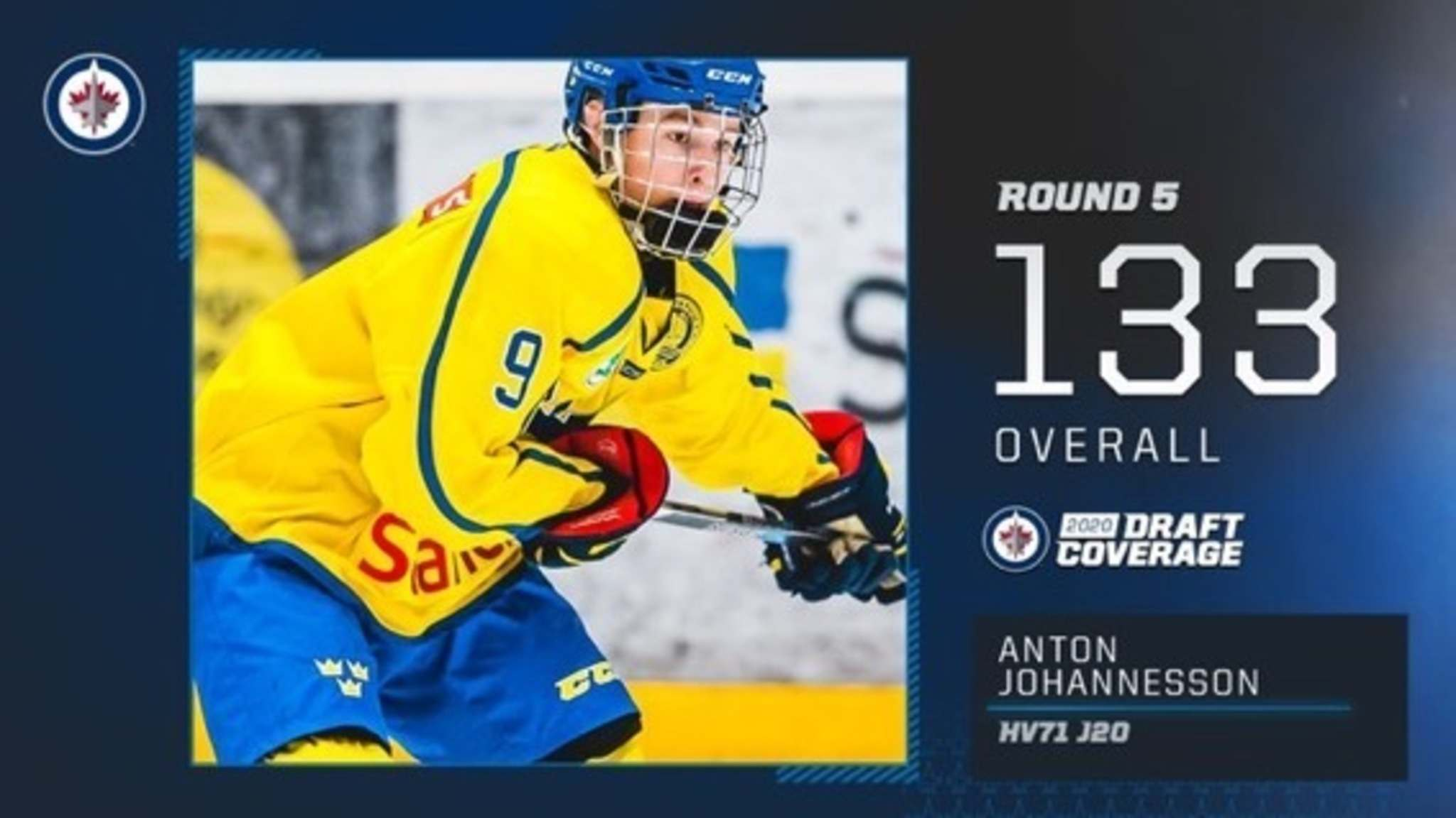 Anton Johannesson, an 18-year-old offensive defenceman, was the 133rd selection in the fifth round for the Jets.