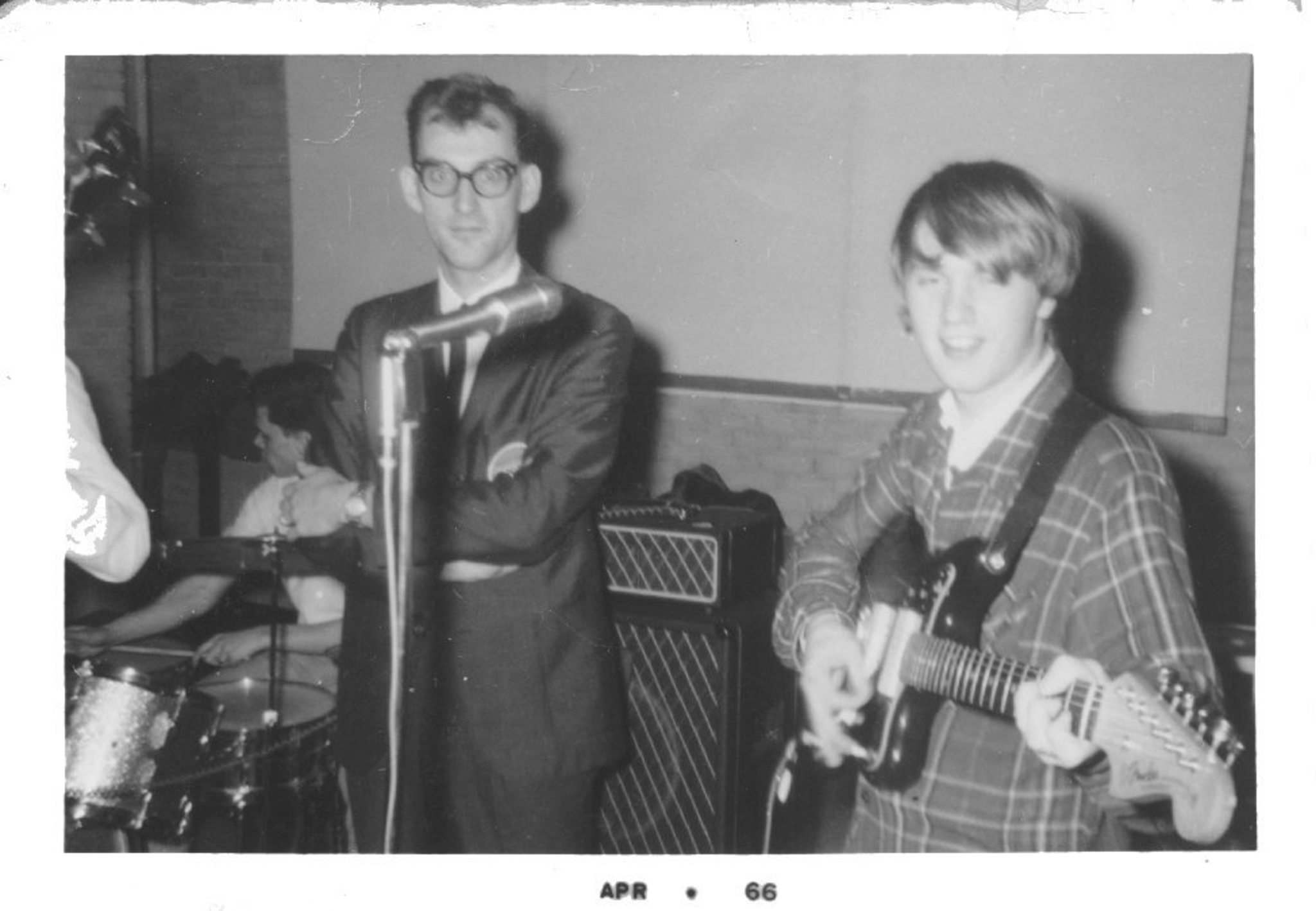 SUPPLIED</p><p>Taylor (left) with Deverons' guitarist Bruce Decker at a 1964 gig at St. Andrews Church.</p>