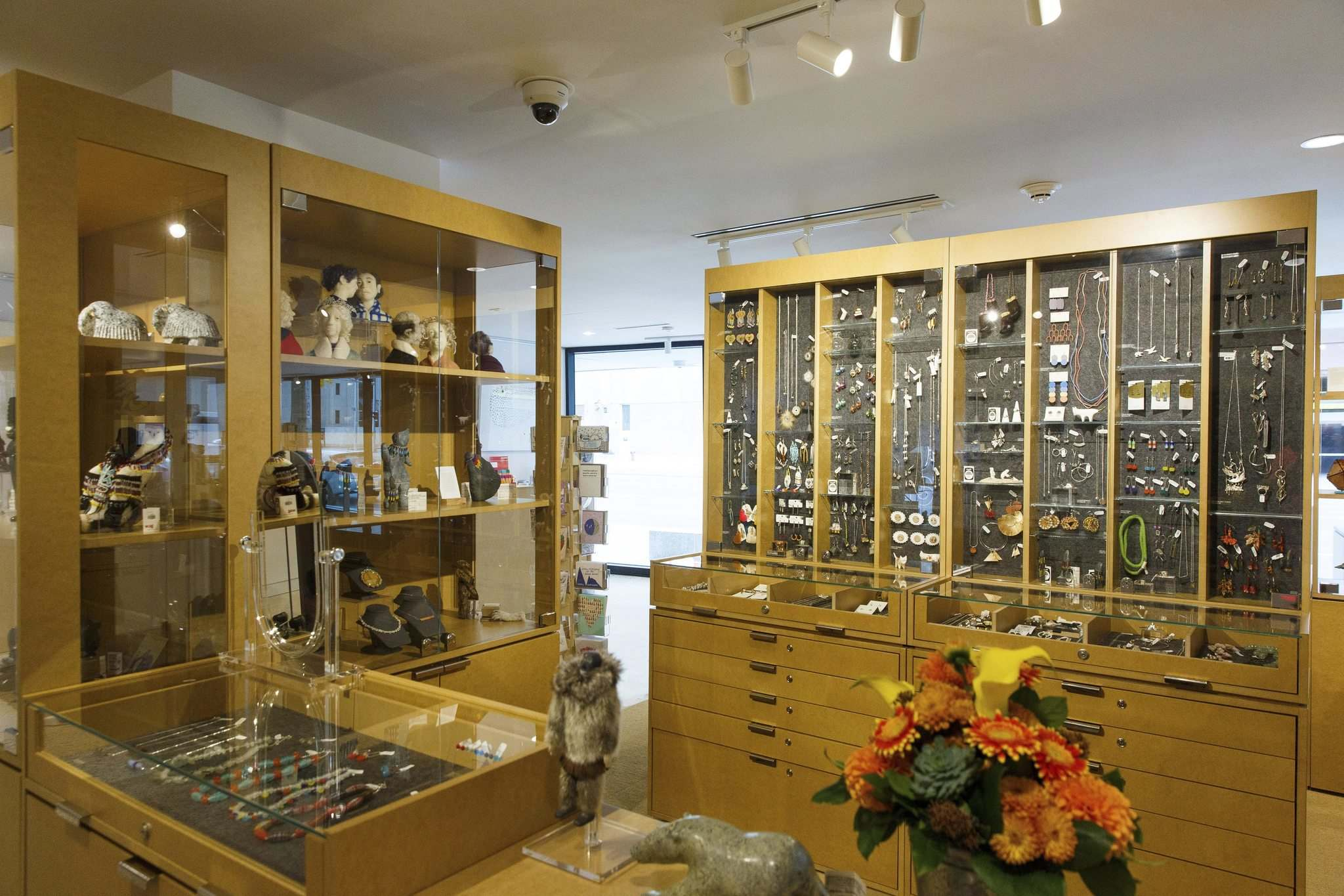 New vertical cabinets bolster the shop's jewelry department.