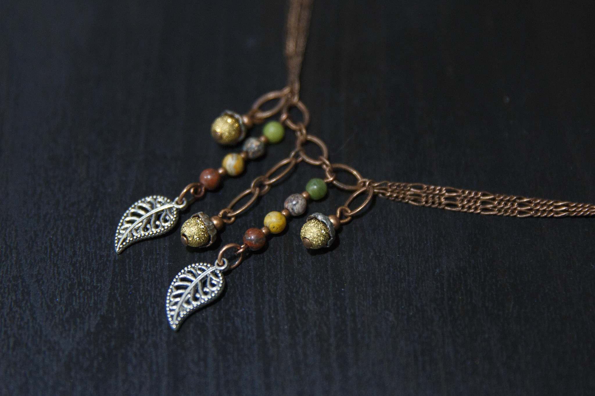 MIKE DEAL / WINNIPEG FREE PRESS</p><p>A necklace with beads by Carly Kliewer of Caged Designs.</p>