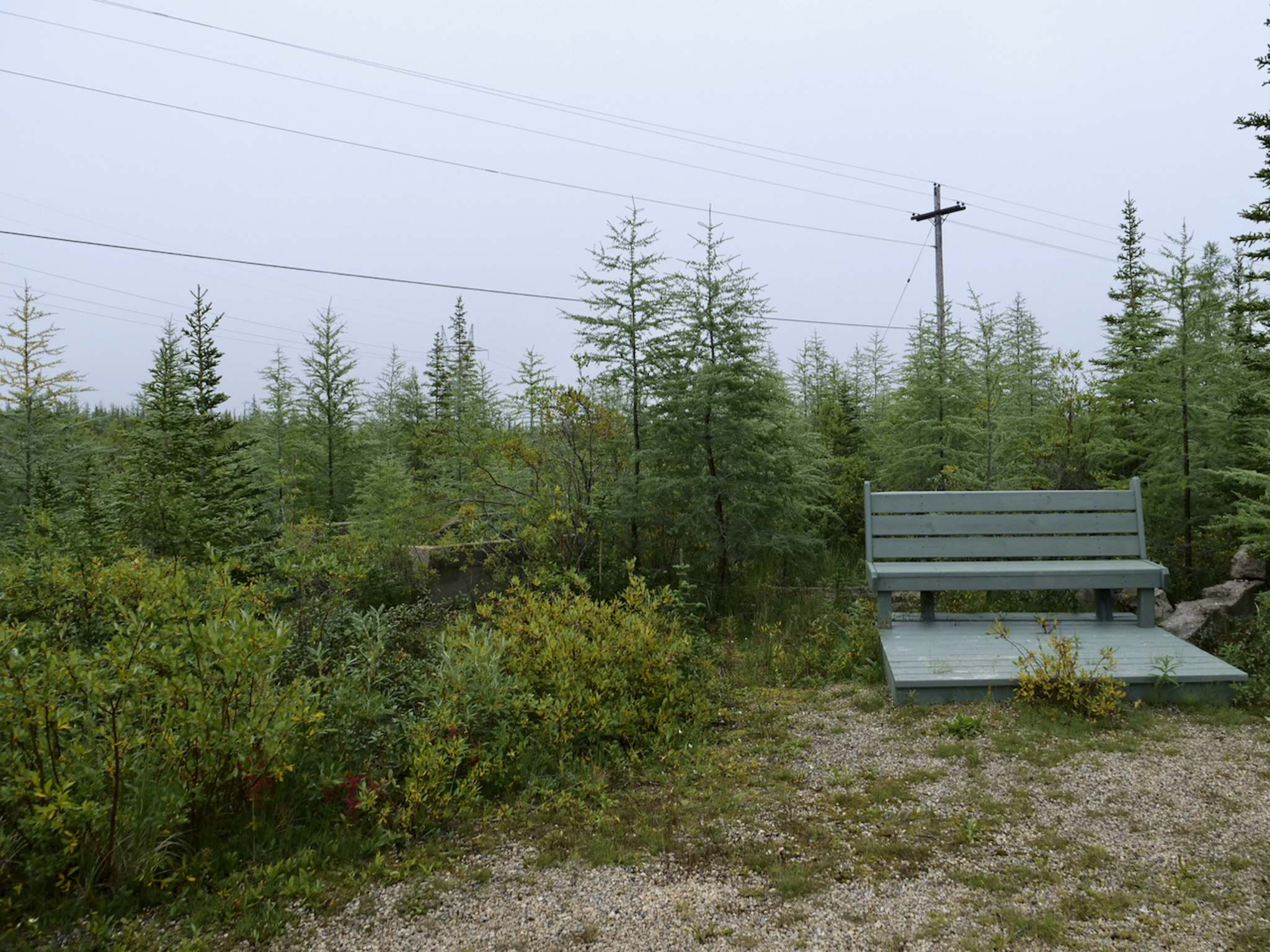 There is little marking the site of Dene Village. A bench sits near the cement foundation of one of the former homes.</p>