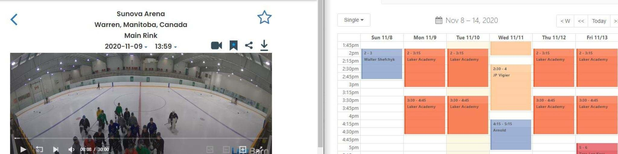 A screenshot from live footage on Monday afternoon clearly shows the Blues on the ice under the name Laker Academy.