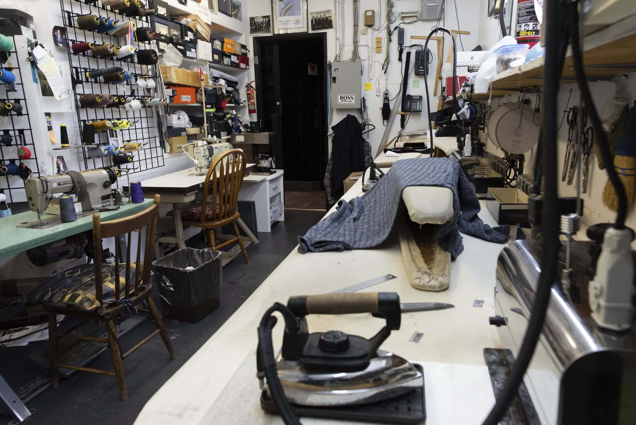 The tailor shop can accommodate nearly any needed alteration. (Jesse Boily / Winnipeg Free Press)</p>