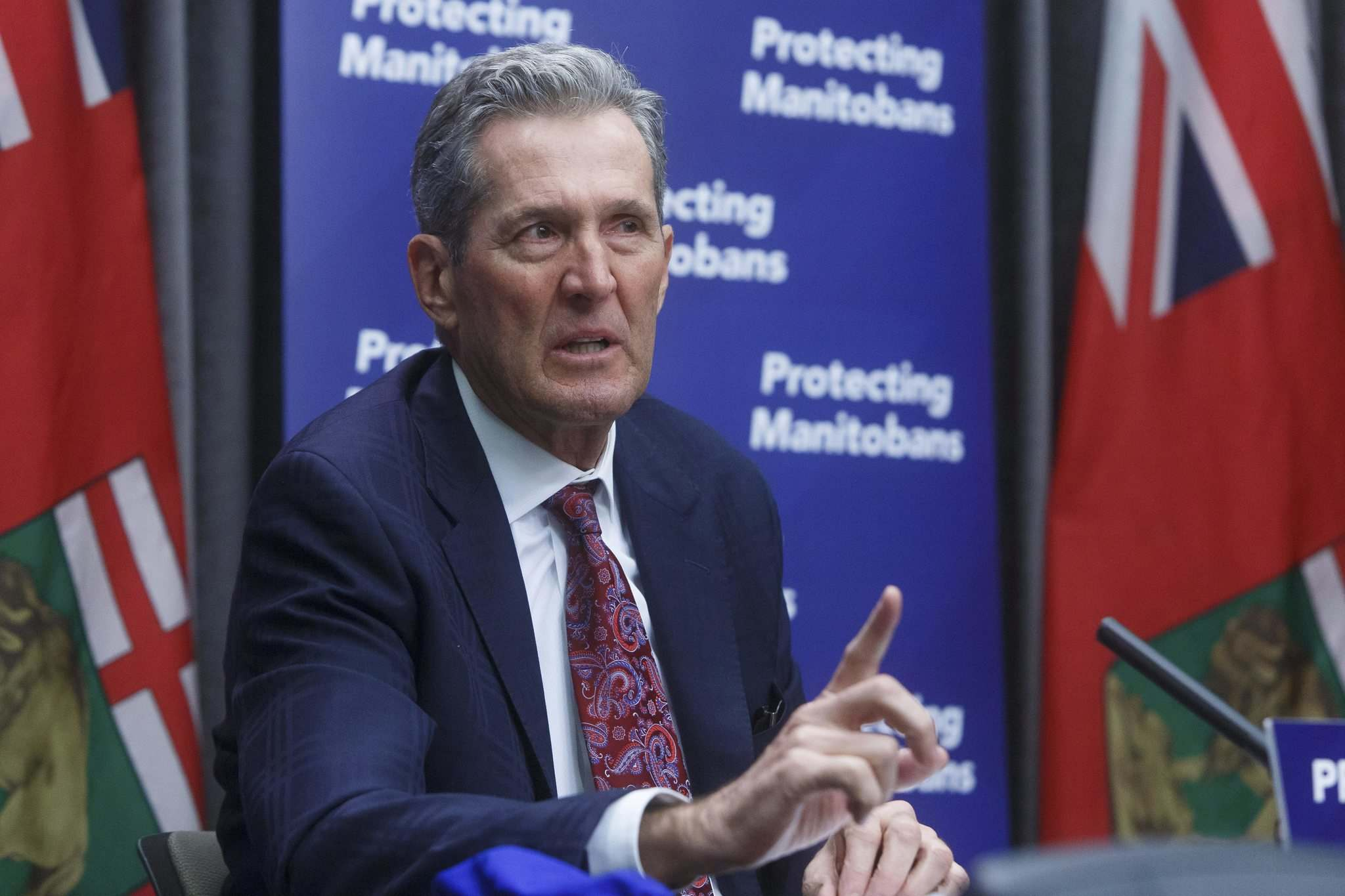 "MIKE DEAL / WINNIPEG FREE PRESS</p><p>""Every premier is doing their absolute best,"" Premier Brian Pallister told a press conference Tuesday.</p>"